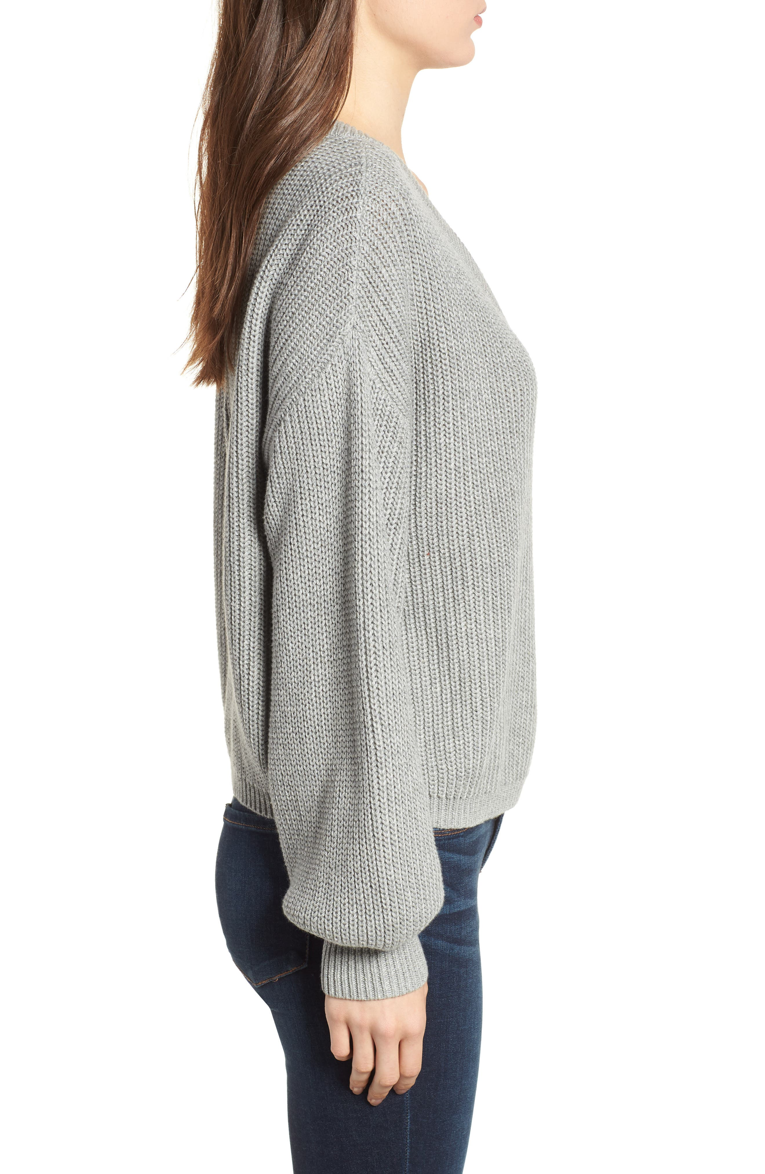 V Neck Cotton Sweater,                             Alternate thumbnail 3, color,                             030