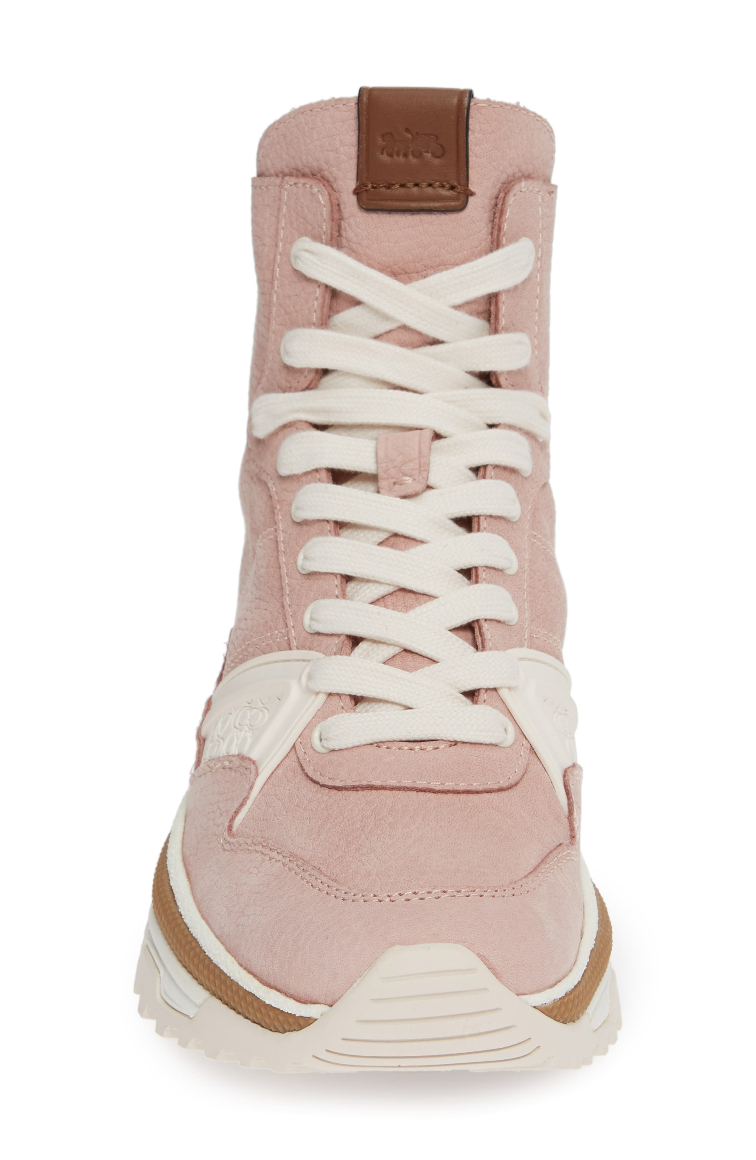 COACH,                             High Top Sneaker,                             Alternate thumbnail 4, color,                             BLUSH PINK NUBUCK LEATHER