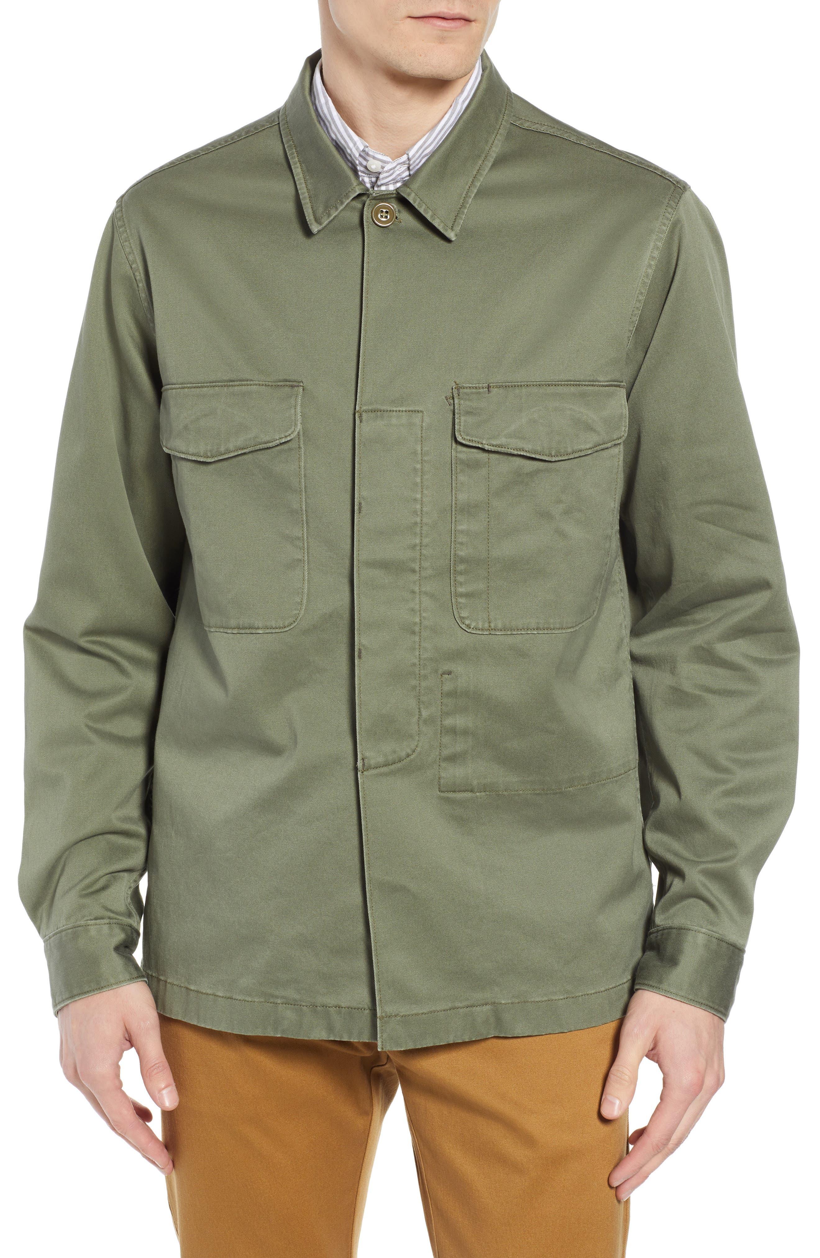 Regular Fit Military Shirt Jacket,                             Alternate thumbnail 4, color,                             SURPLUS OLIVE