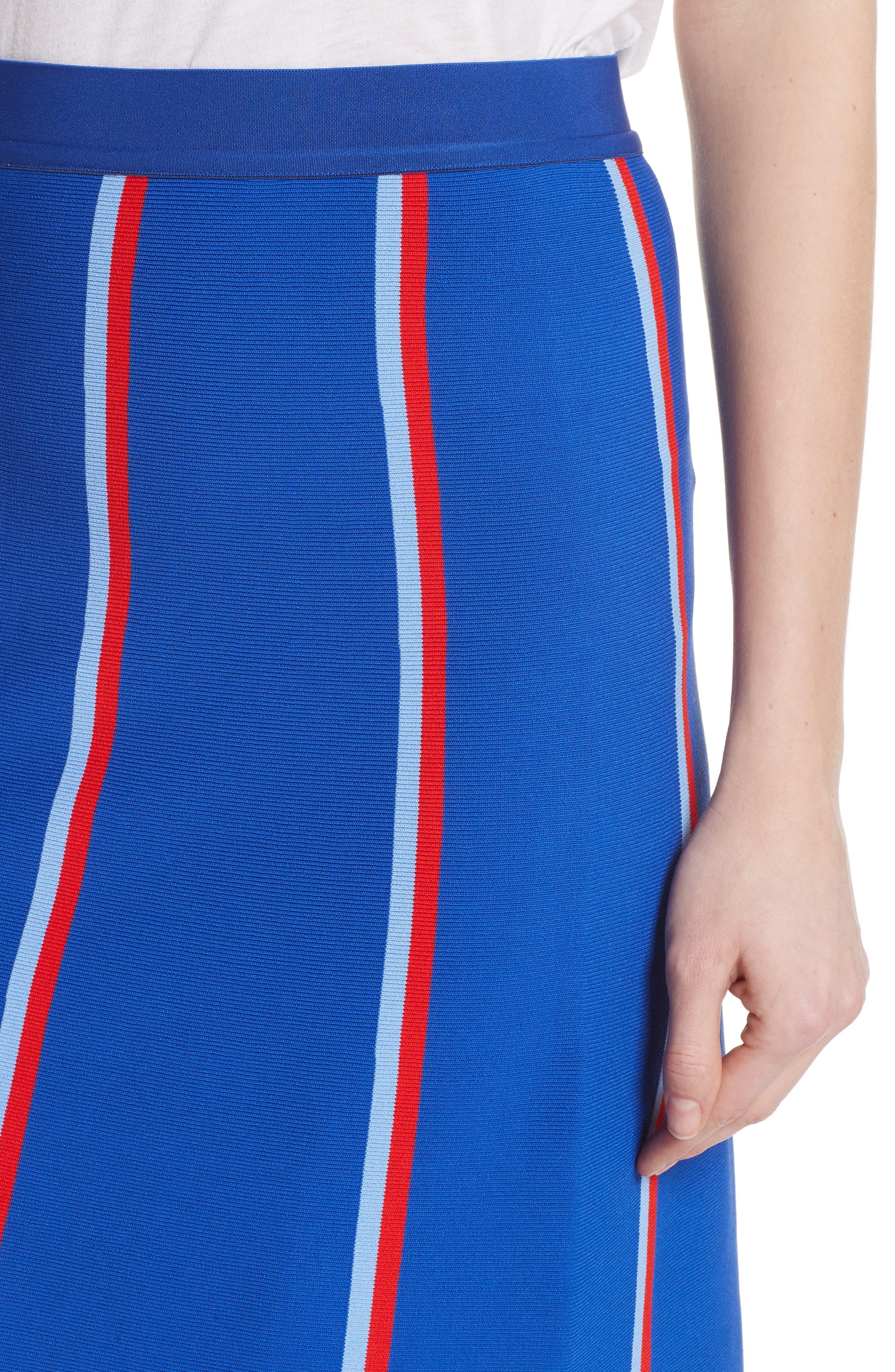 Twin Stripe Tech Knit Skirt,                             Alternate thumbnail 4, color,                             SLALOM BLUE