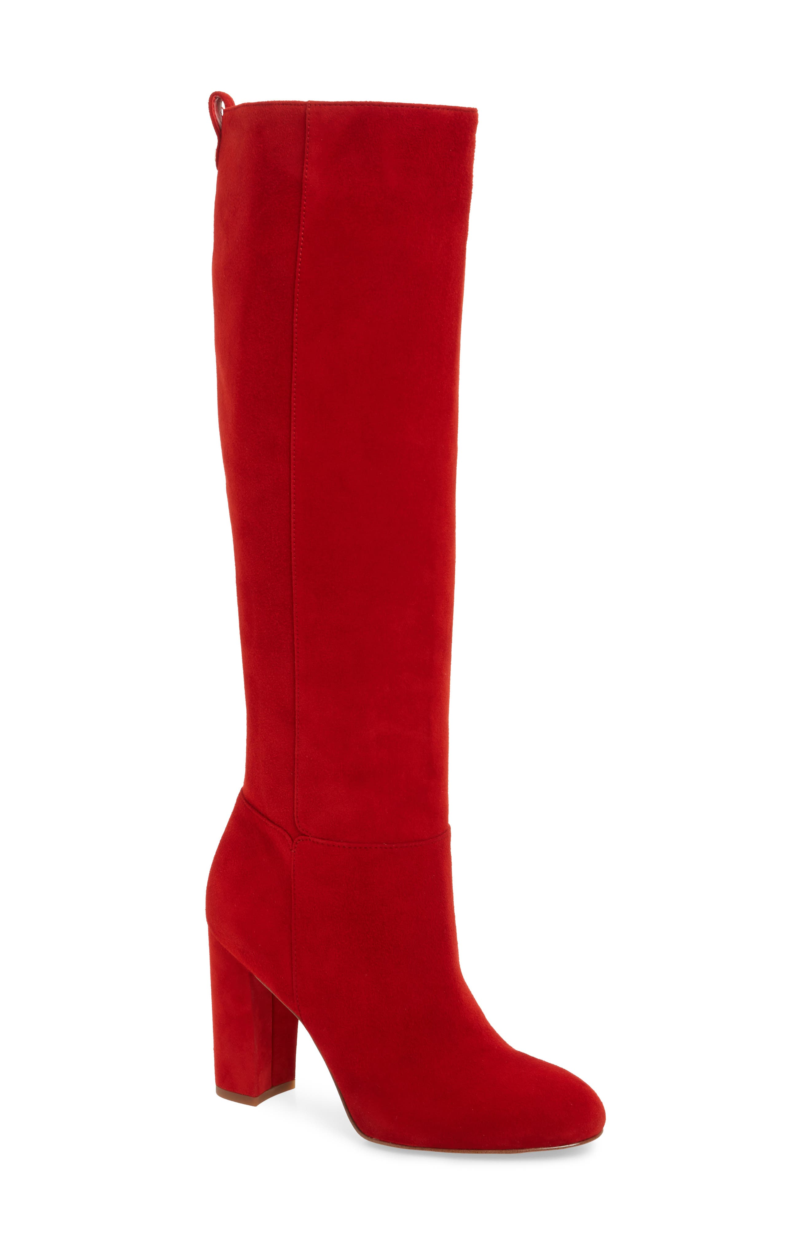 Caprice Knee-High Boot,                         Main,                         color, CANDY RED SUEDE