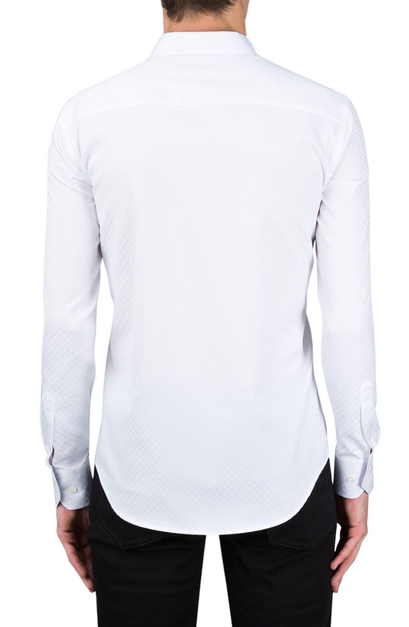 Shaped Fit Rectangle Jacquard Sport Shirt,                             Alternate thumbnail 5, color,
