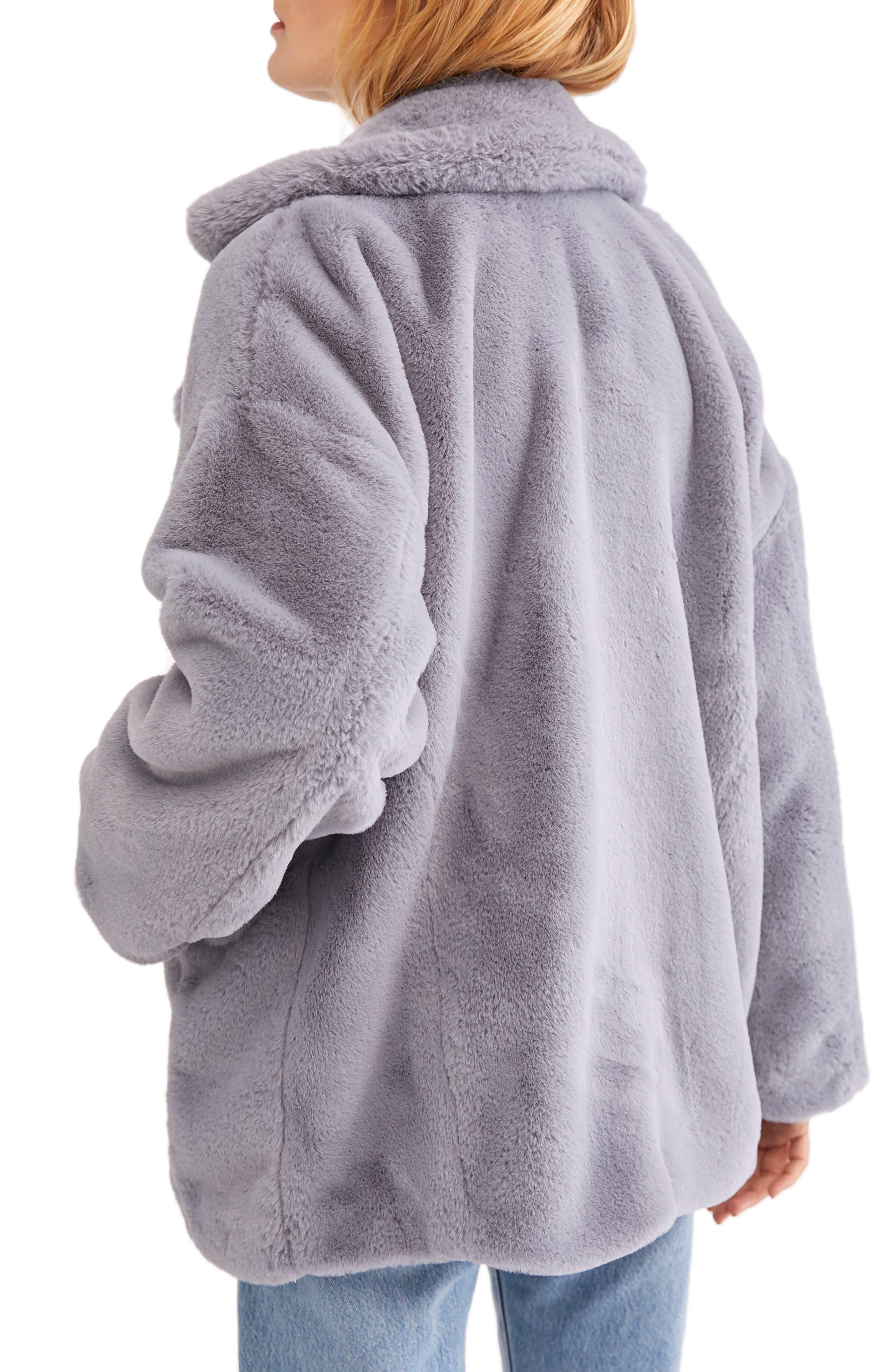 Kate Faux Fur Coat,                             Alternate thumbnail 2, color,                             SKY