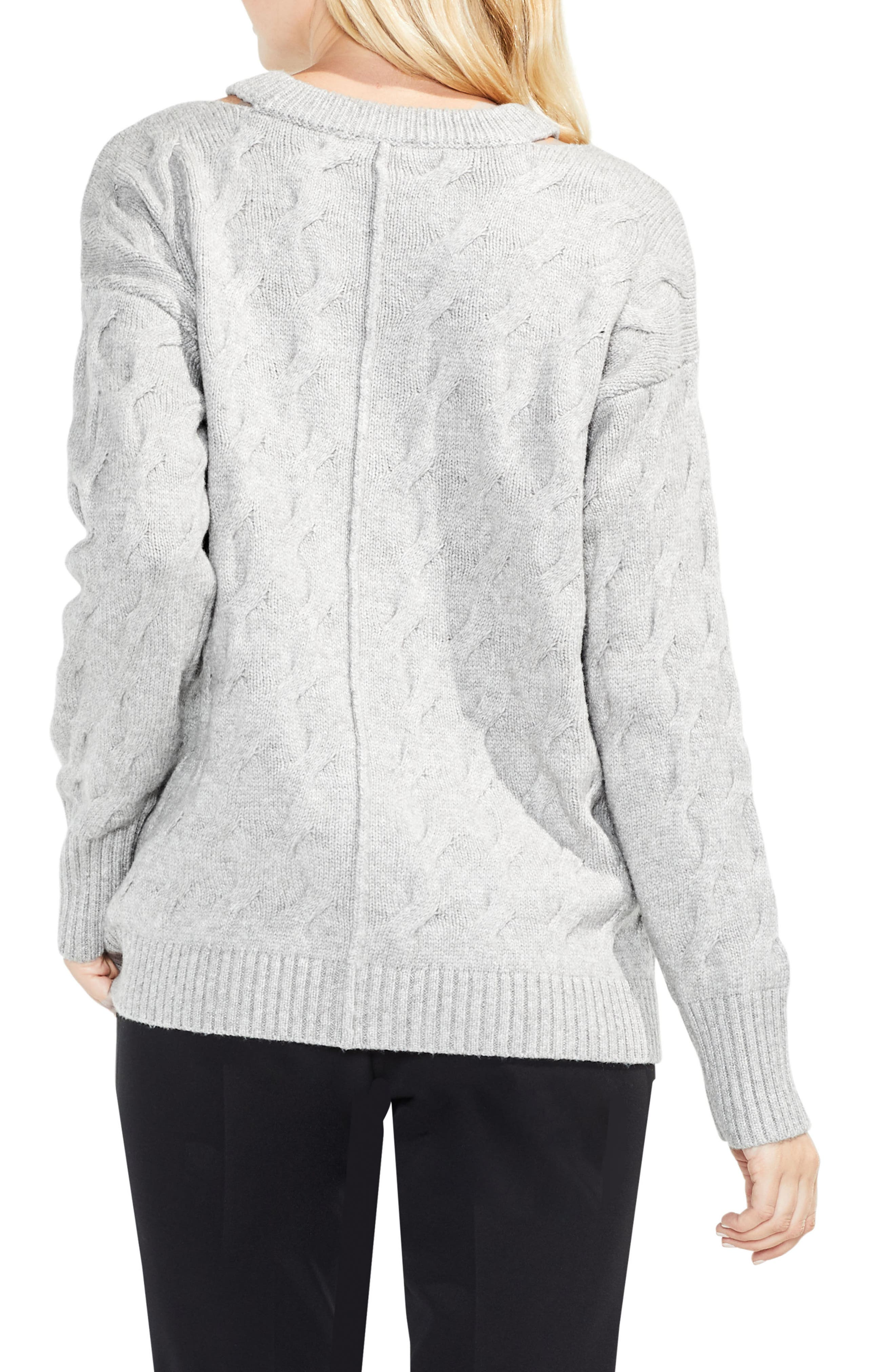 Keyhole Neck Cable Sweater,                             Alternate thumbnail 2, color,                             078