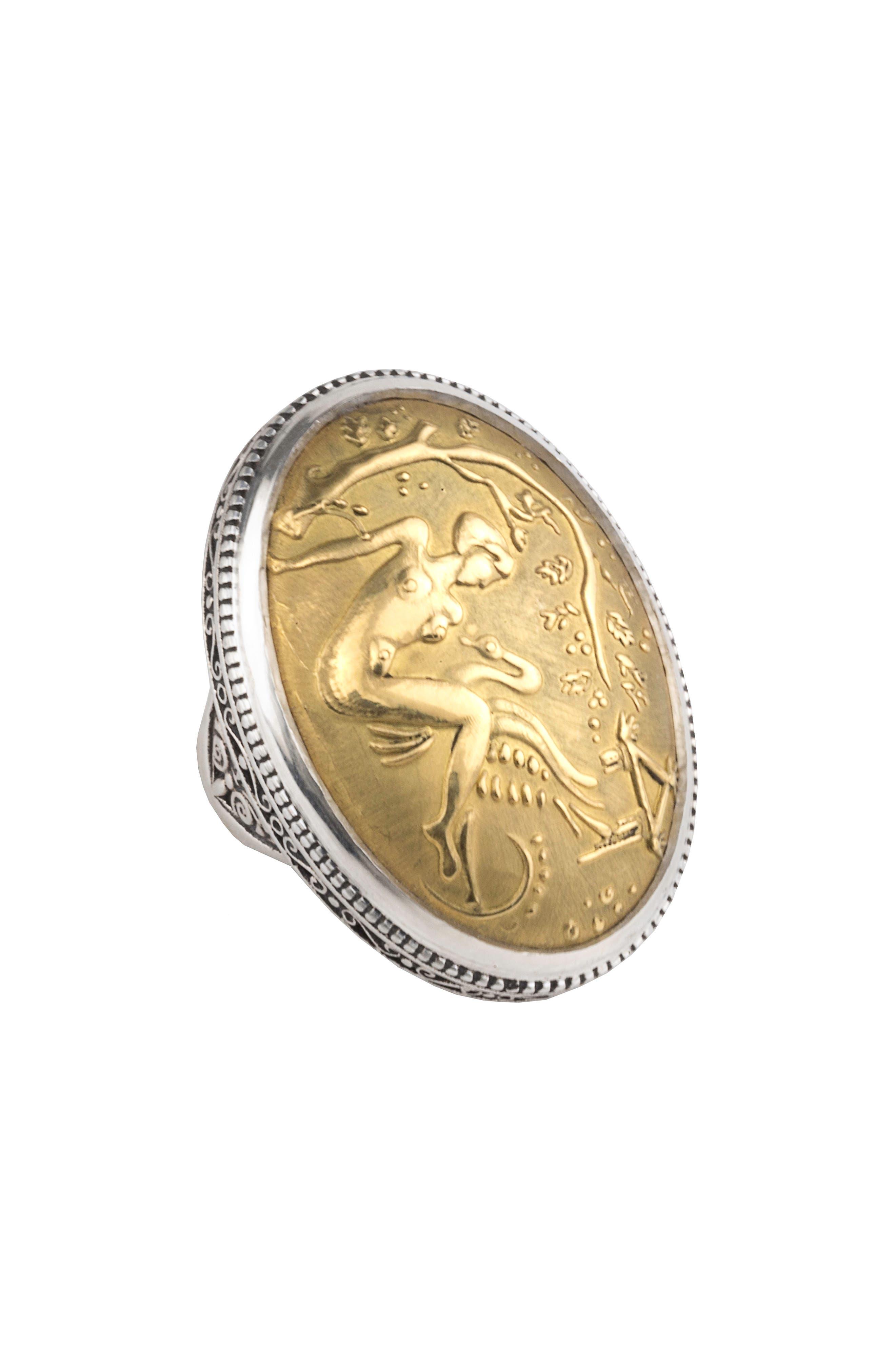 Gaia Dome Ring,                             Main thumbnail 1, color,                             SILVER/ GOLD