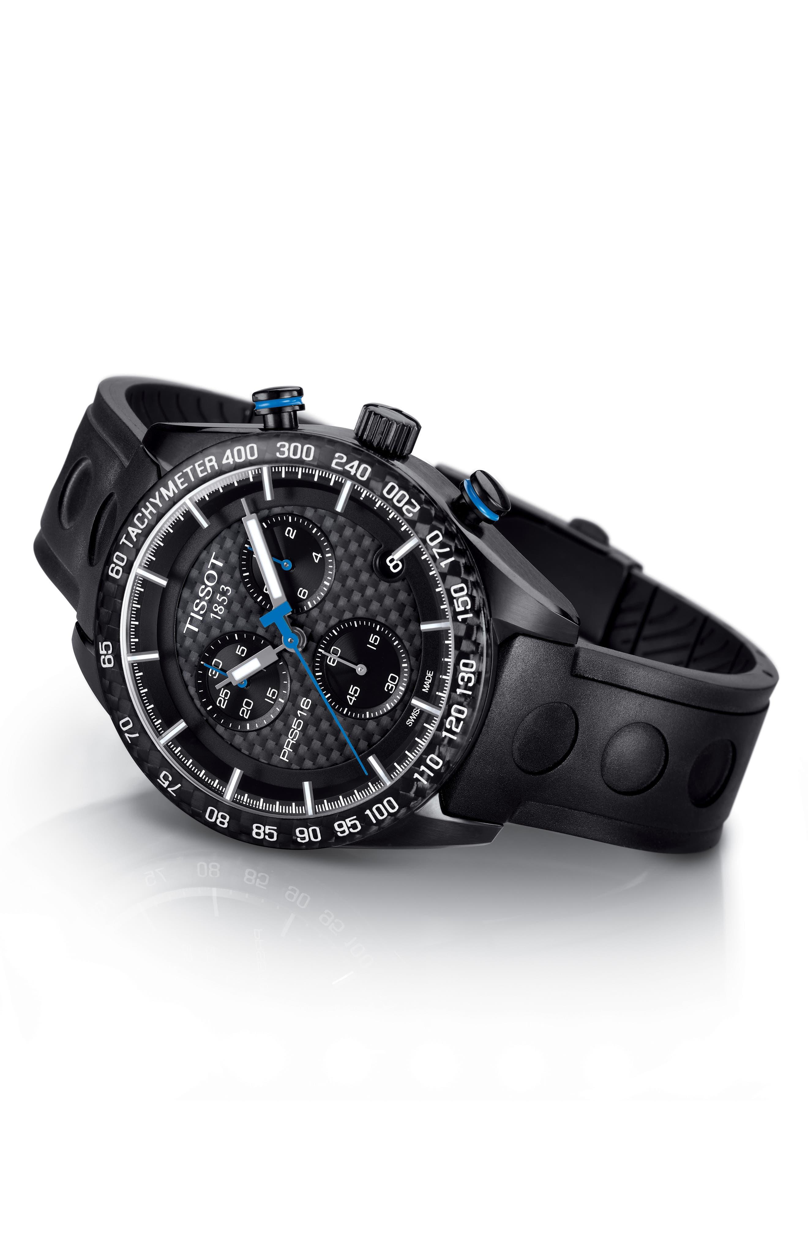PRS516 Chronograph Rubber Strap Watch, 42mm,                             Alternate thumbnail 4, color,                             BLACK