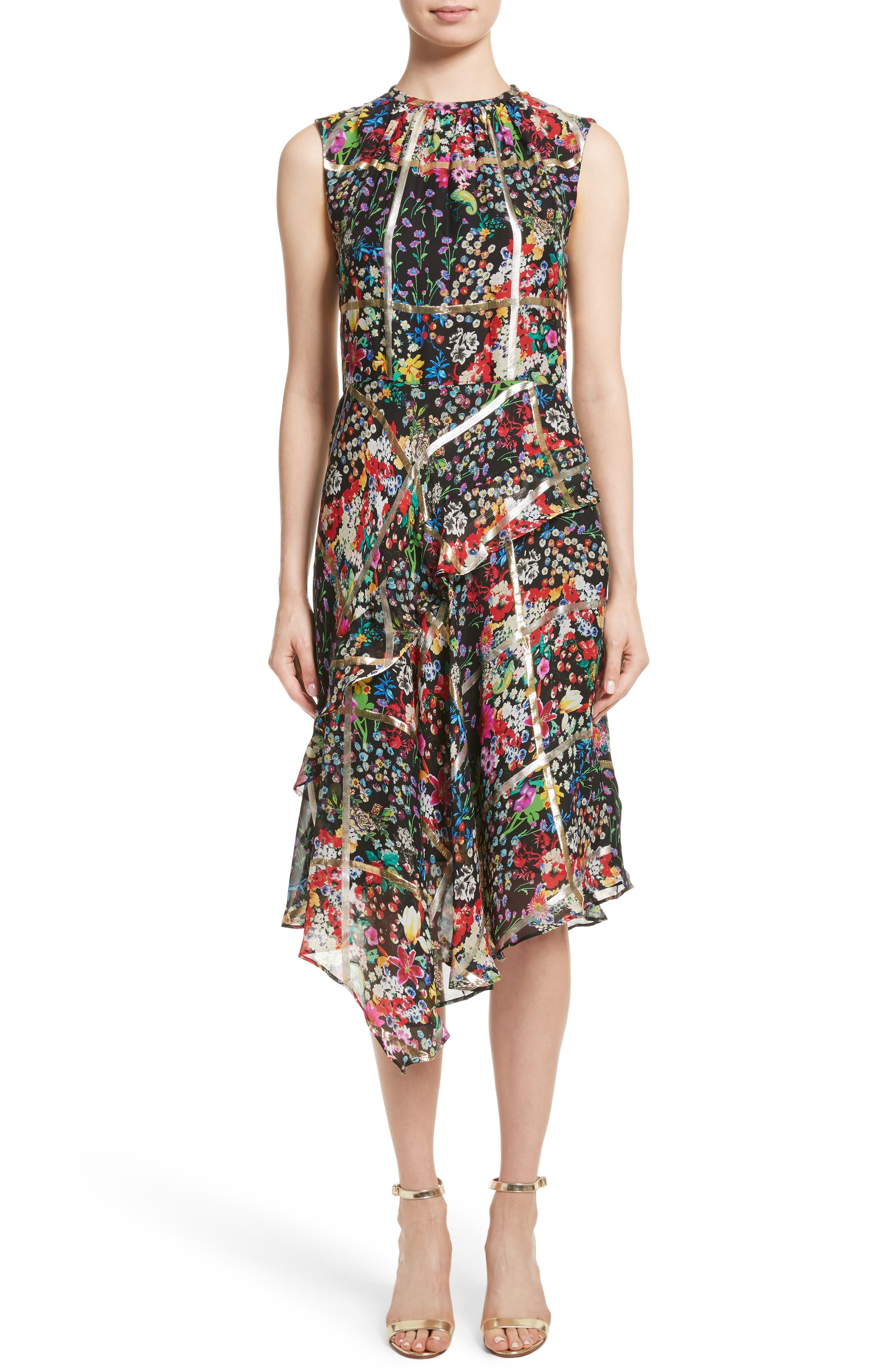 Metallic Grid Floral Print Silk Dress,                         Main,                         color, 001