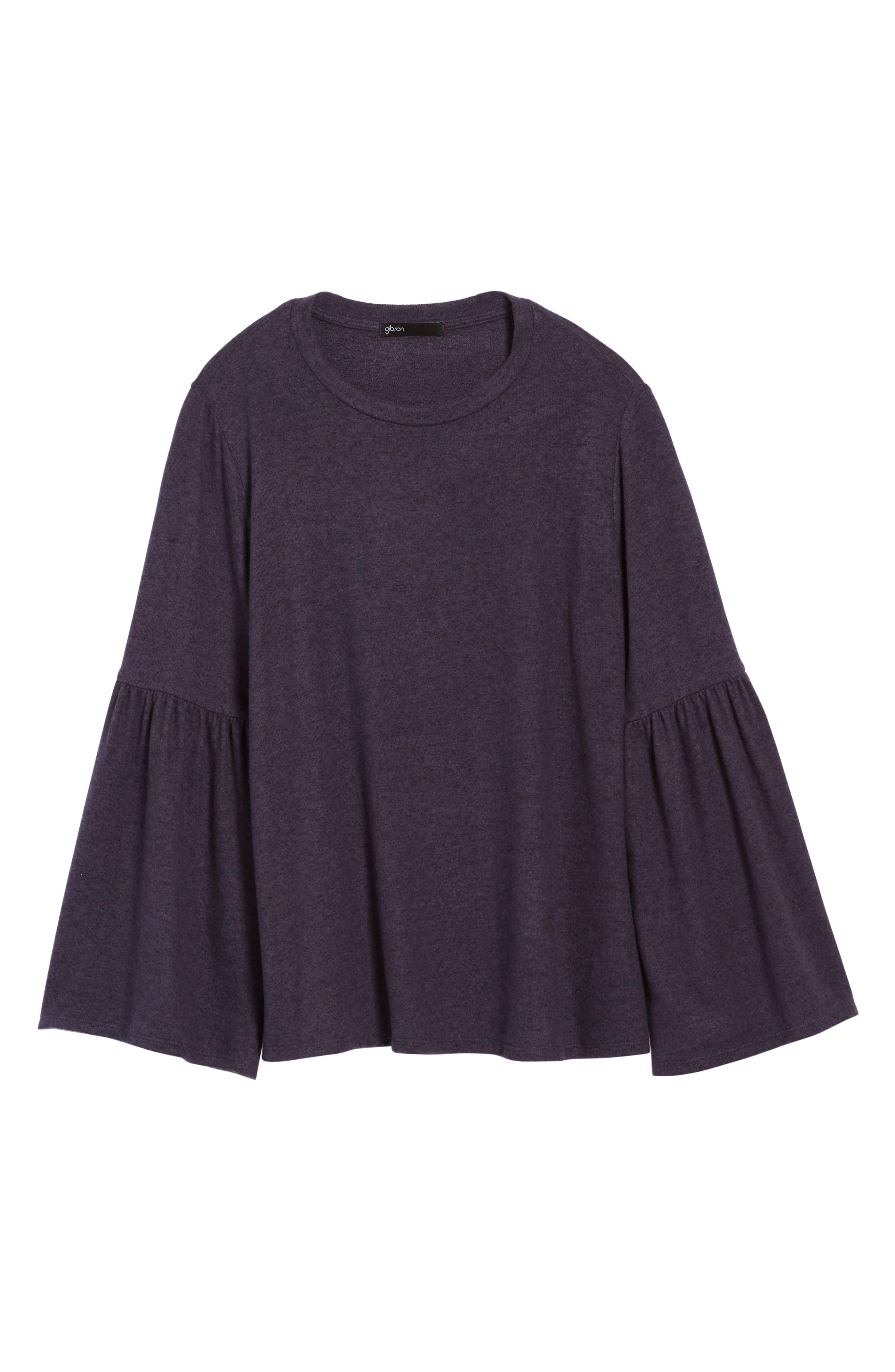 Bell Sleeve Cozy Fleece Pullover,                             Alternate thumbnail 70, color,