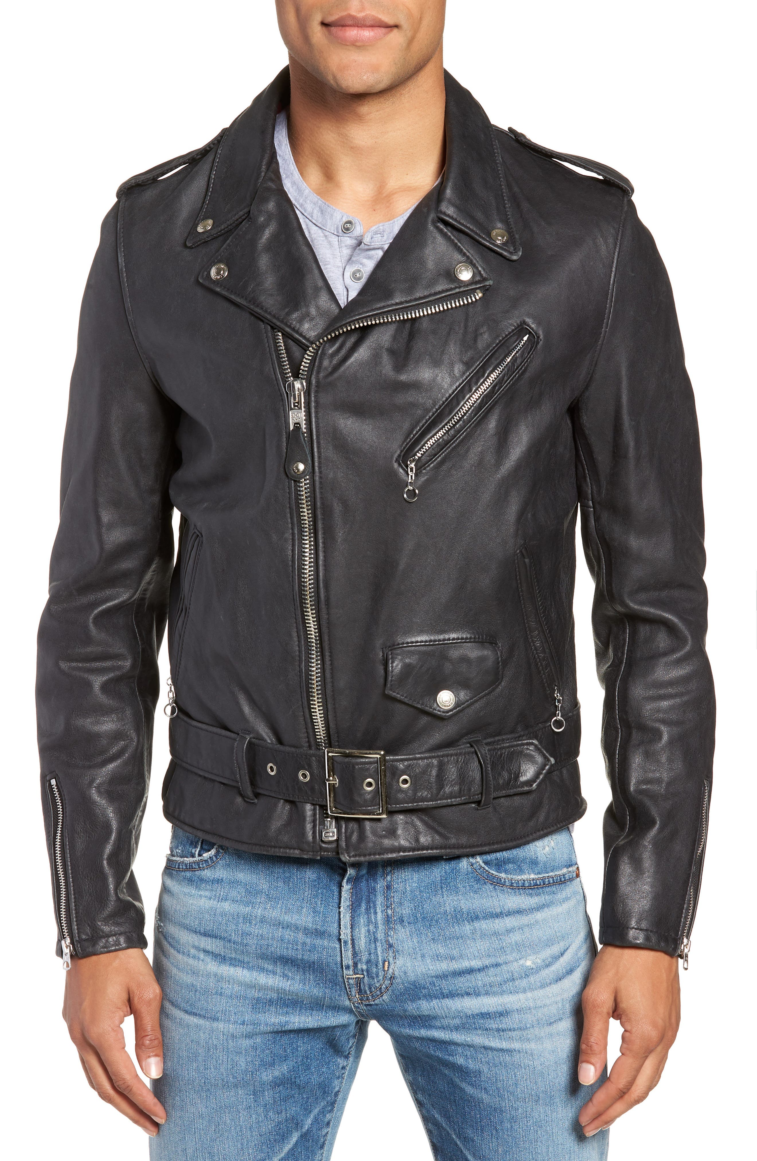Hand Vintaged Cowhide Leather Motocycle Jacket,                             Alternate thumbnail 4, color,                             BLACK