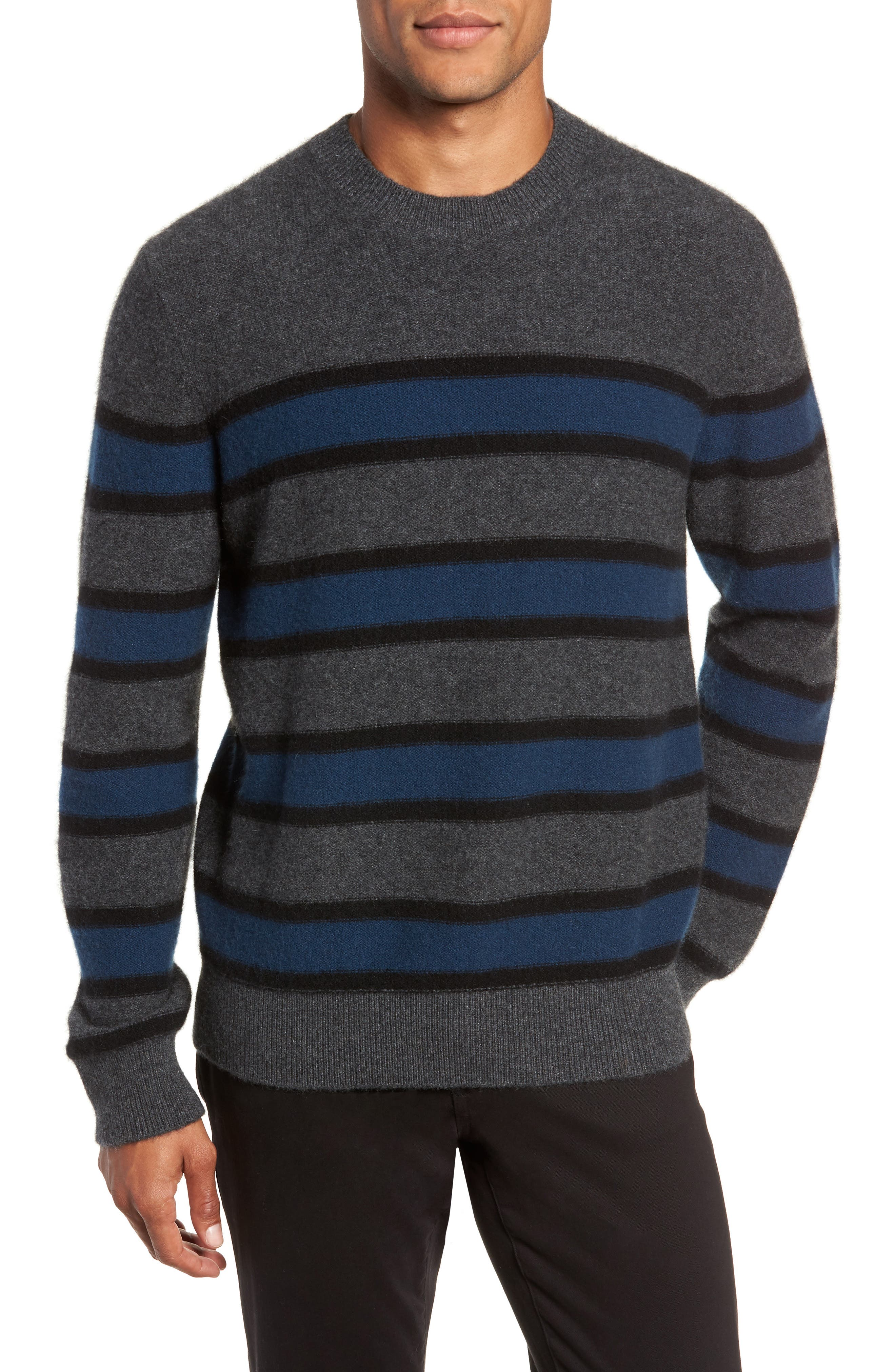Regular Fit Stripe Cashmere Sweater,                             Main thumbnail 1, color,                             DARK HEATHER GREY/BLUE