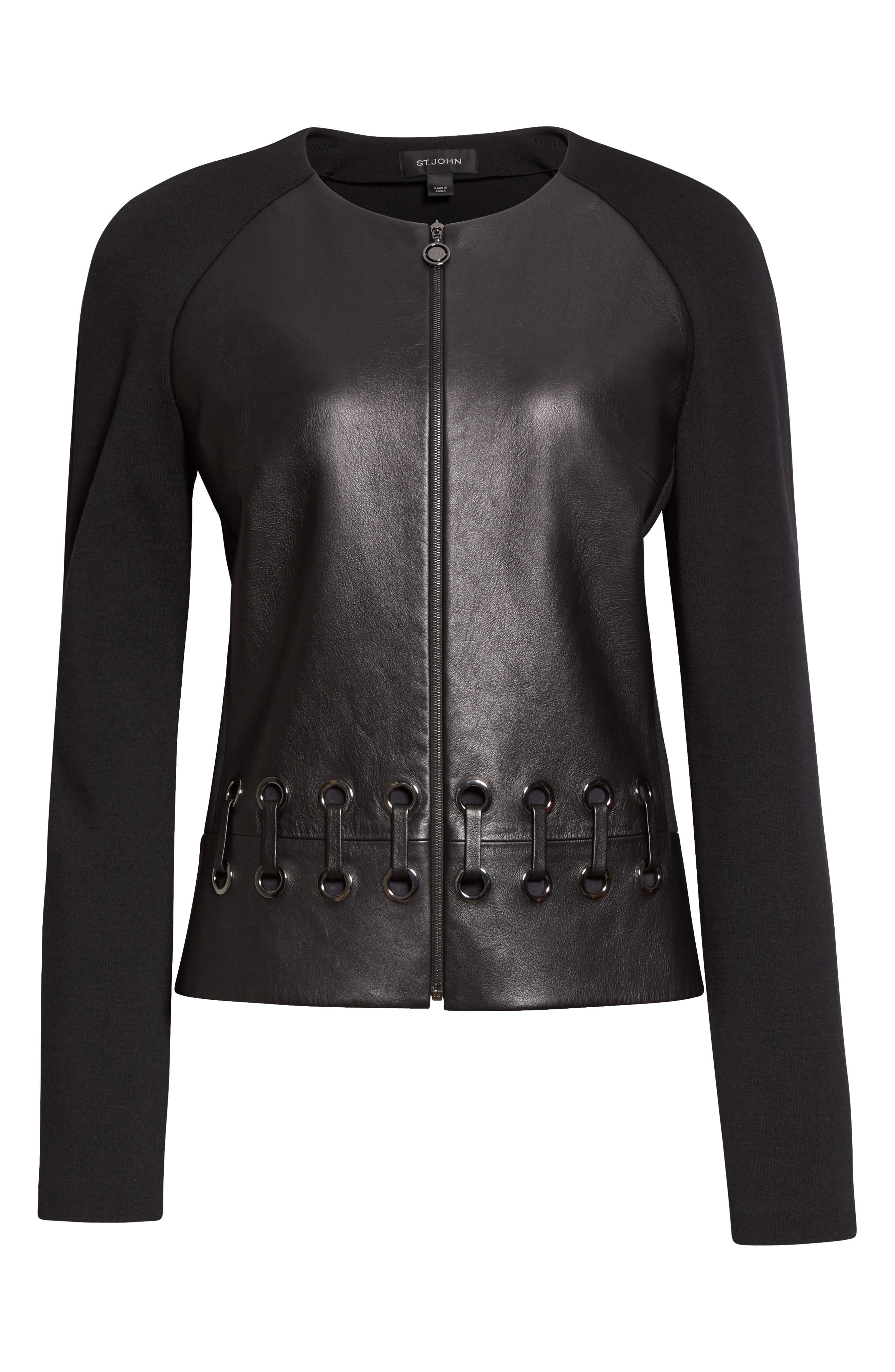 Leather Front Milano Knit Jacket,                             Alternate thumbnail 6, color,                             001