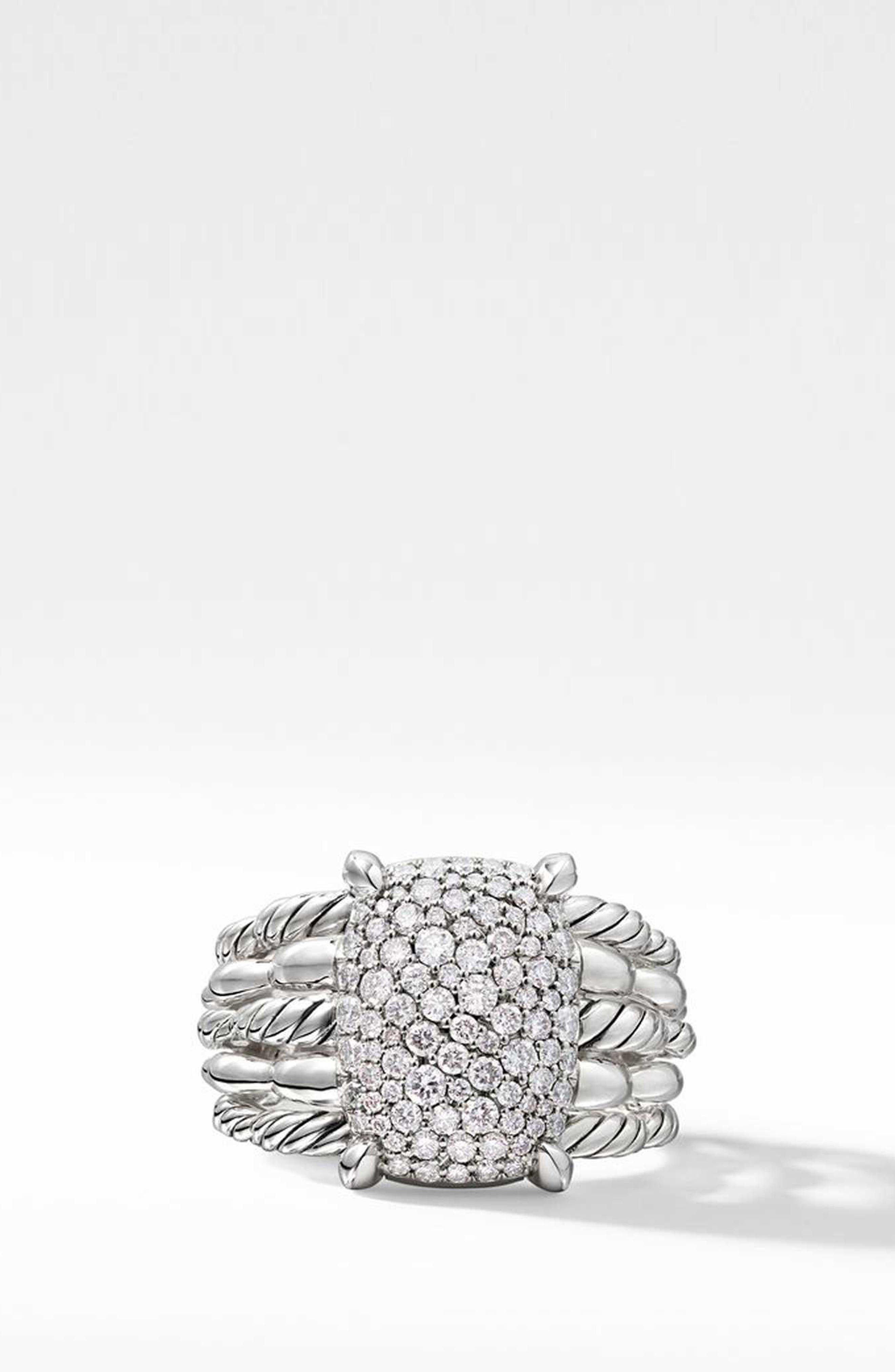 Tides Statement Ring with Pavé Plate,                             Alternate thumbnail 3, color,                             STERLING SILVER/ DIAMOND