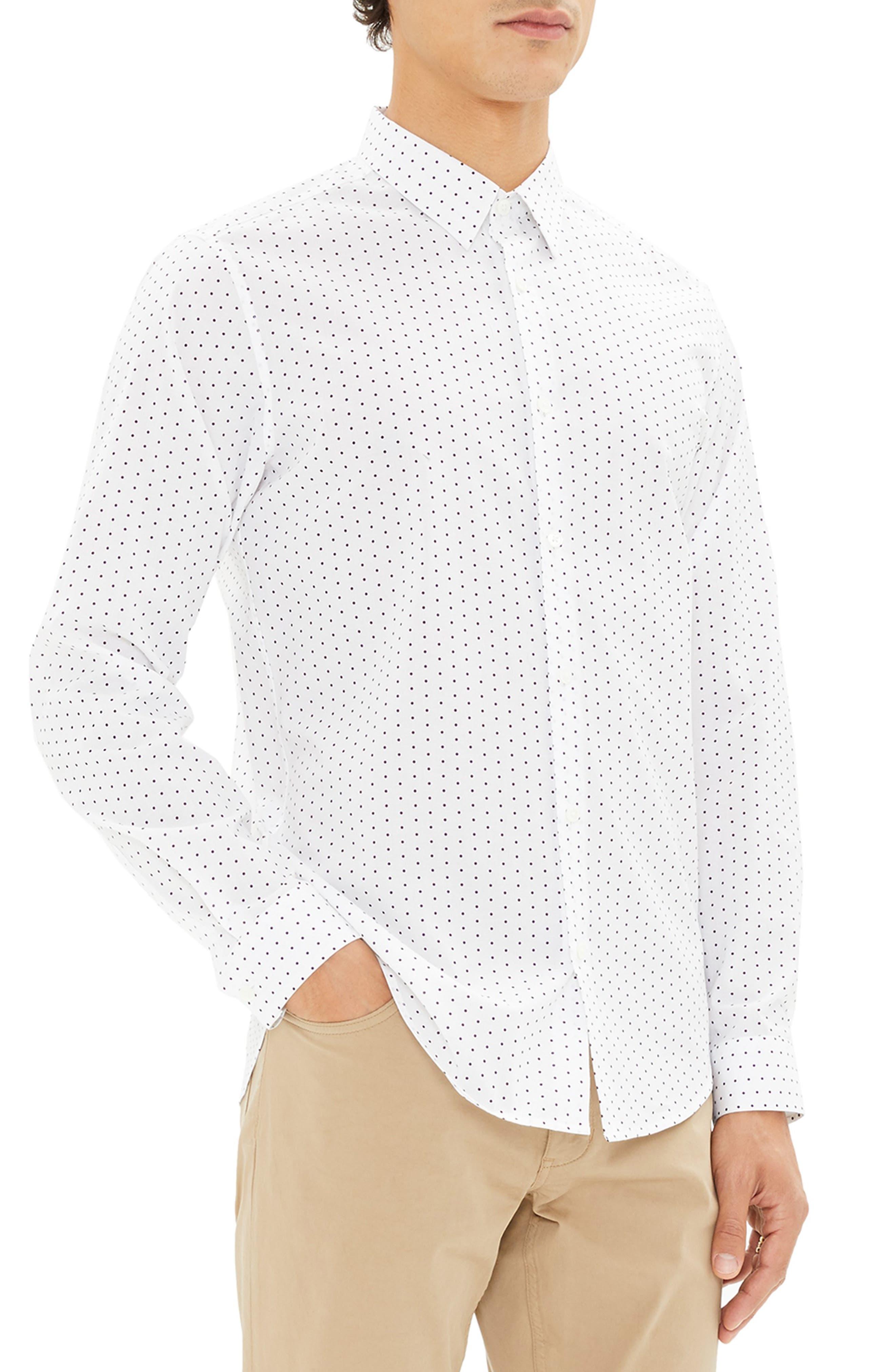 Irving Trim Fit Polka Dot Sport Shirt,                             Alternate thumbnail 3, color,                             110