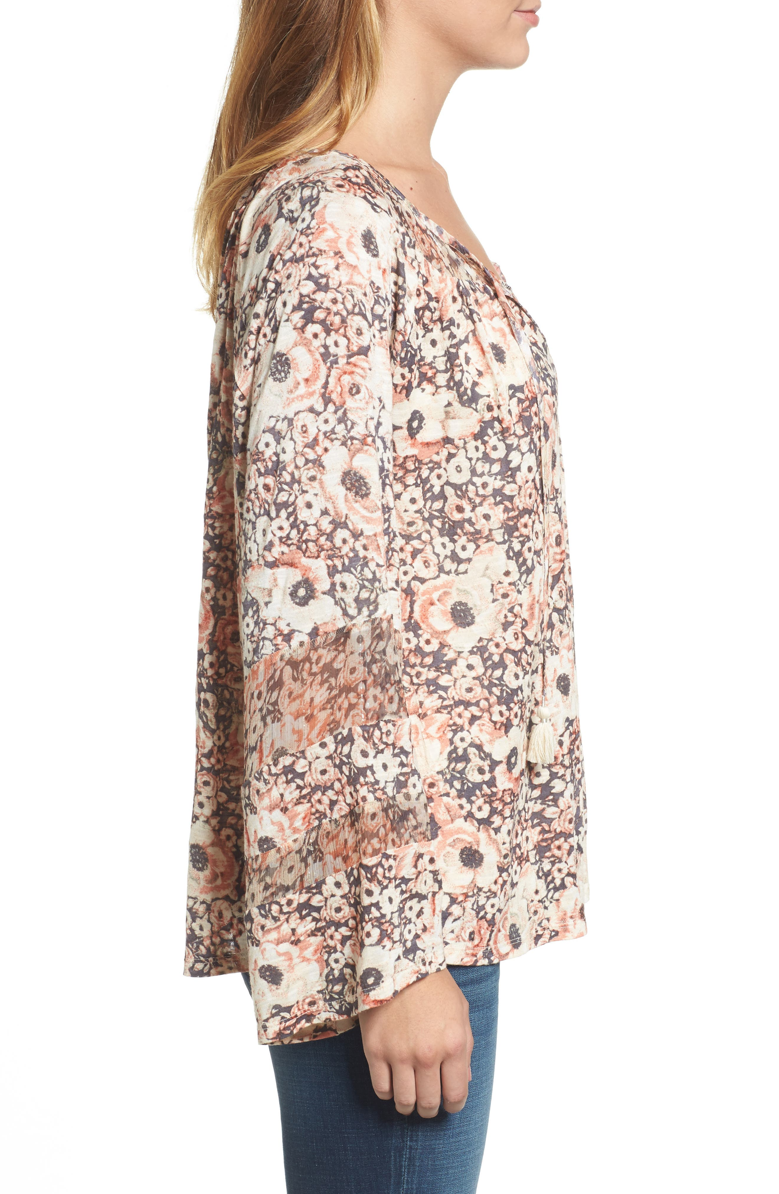 Bell Sleeve Floral Mixed Media Top,                             Alternate thumbnail 3, color,                             650