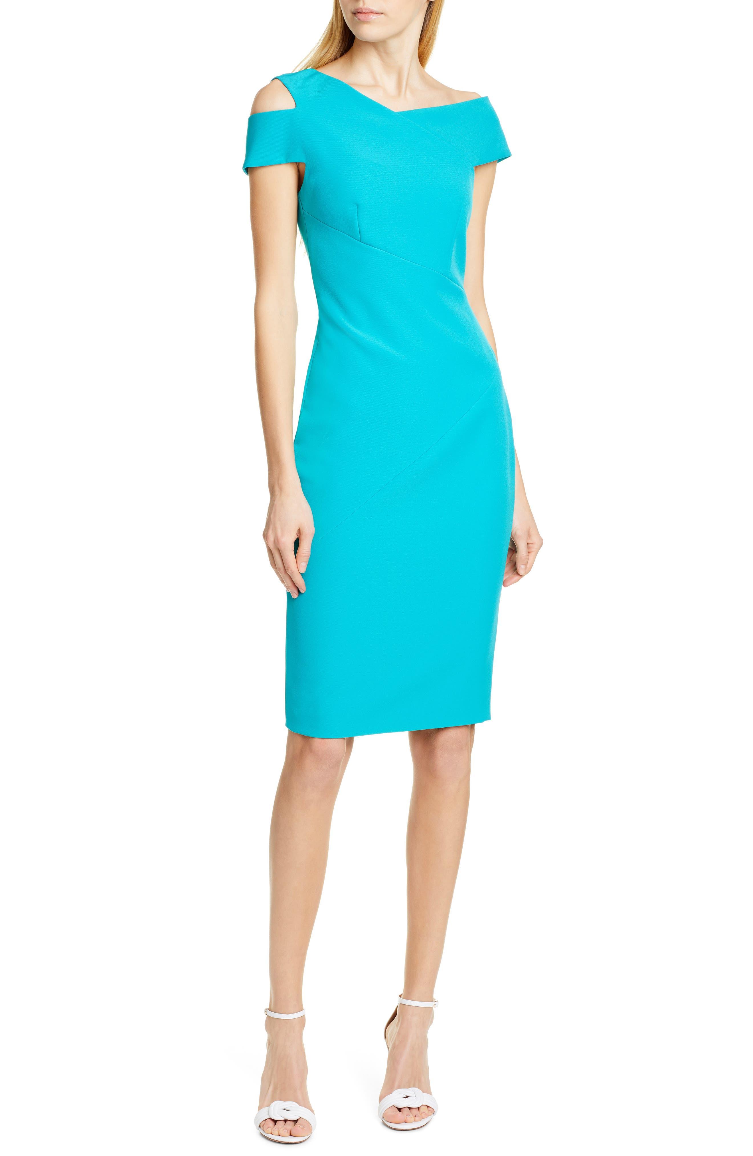 Ted Baker London Yandal Shoulder Cutout Body-Con Dress, Blue