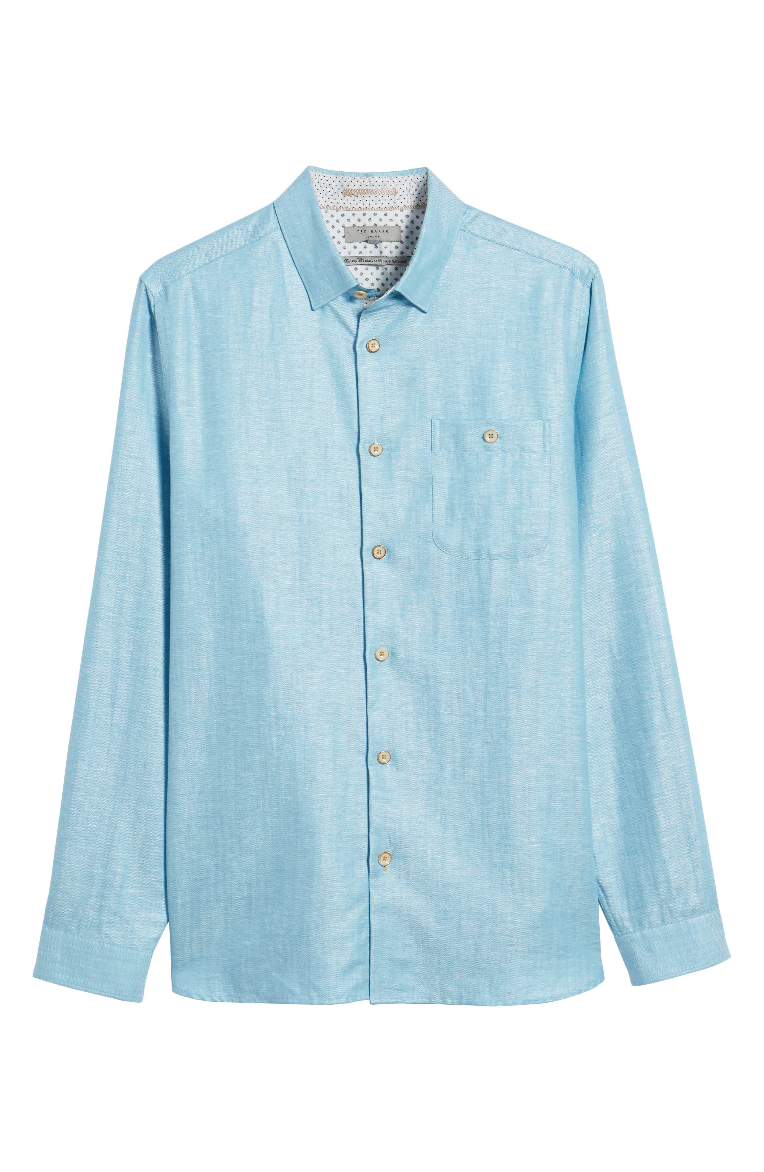 Linlins Herringbone Cotton & Linen Sport Shirt,                             Alternate thumbnail 24, color,