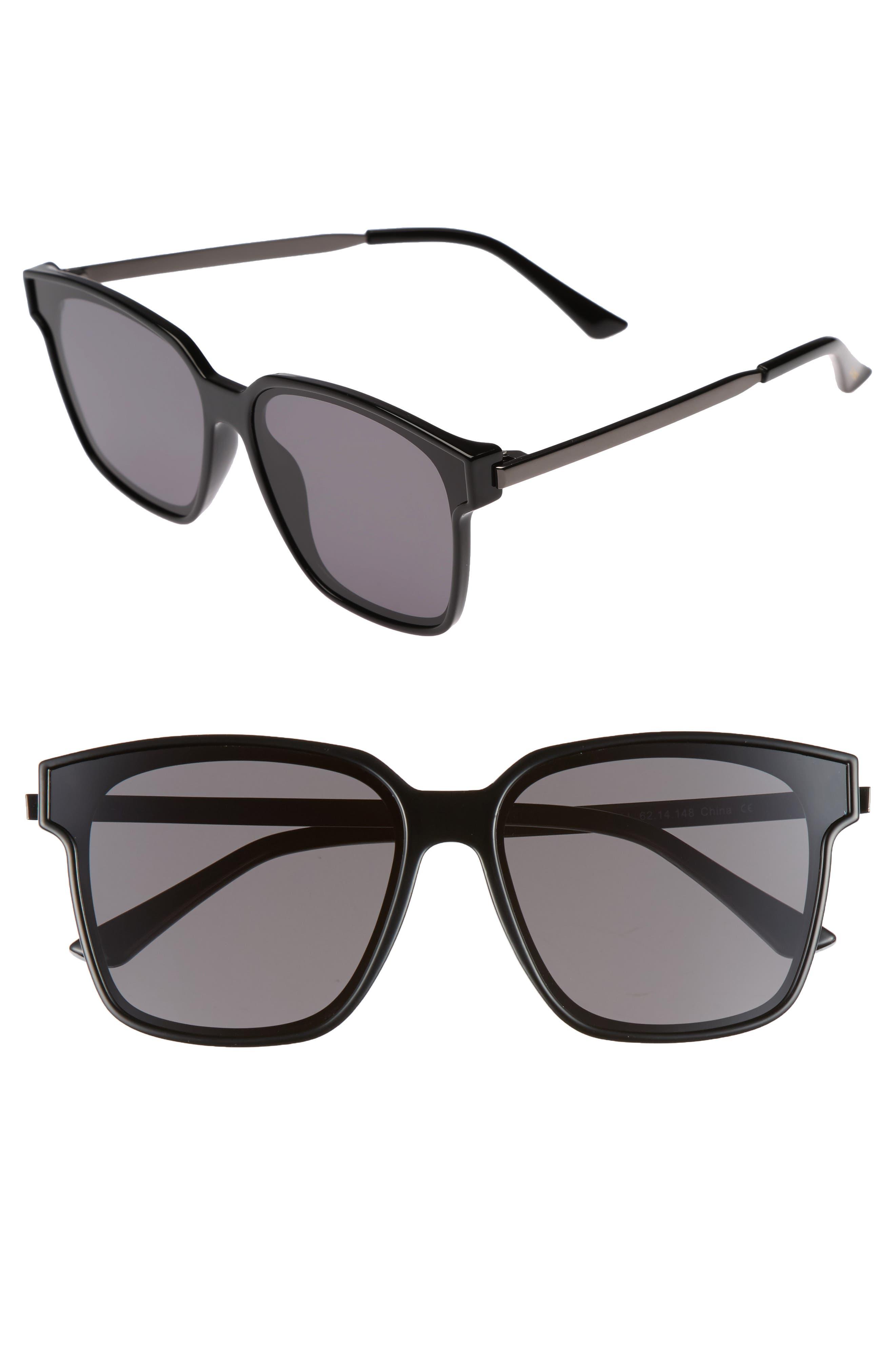 Wall 62mm Square Mirror Lens Sunglasses,                             Main thumbnail 2, color,