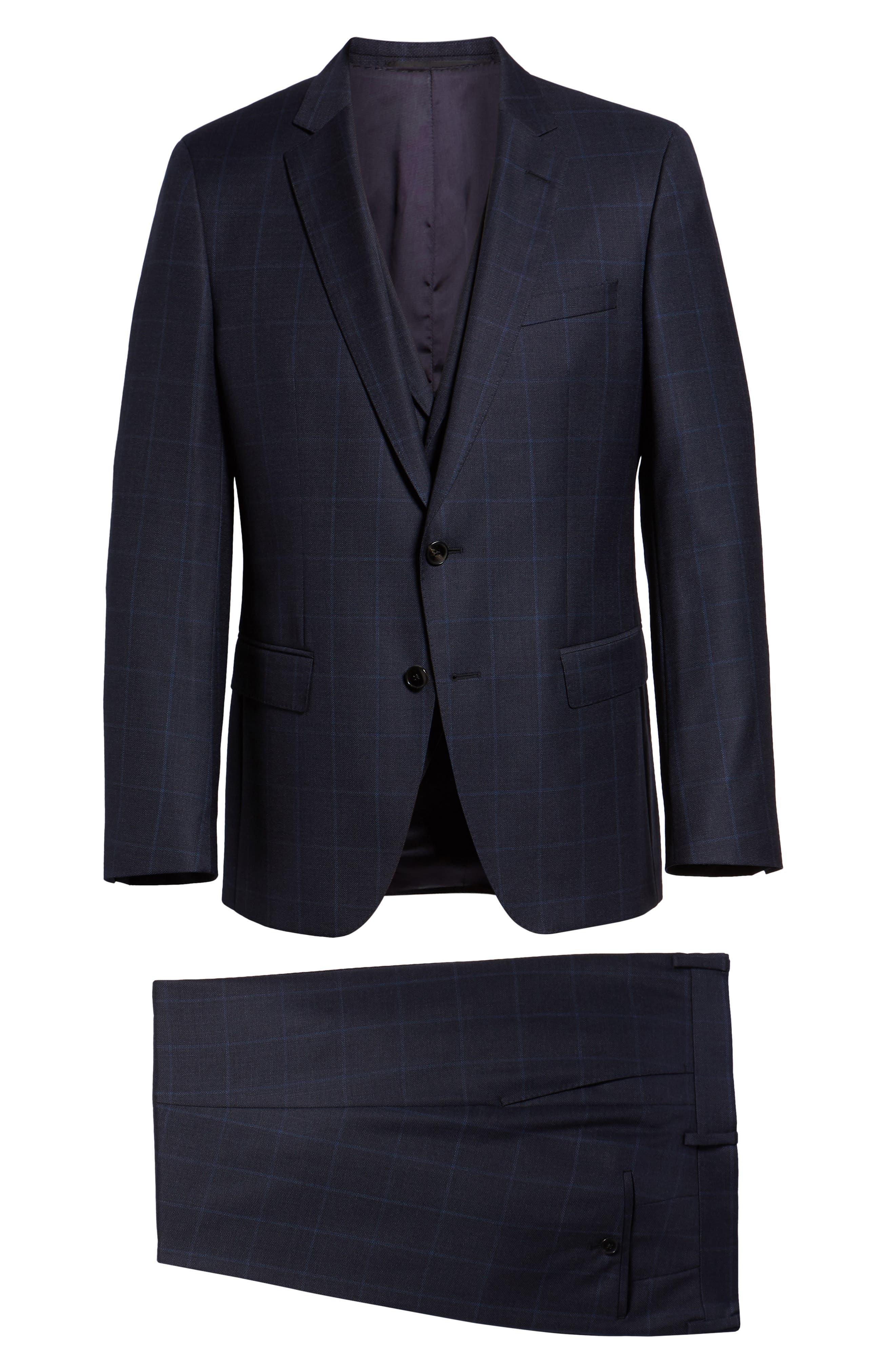 Huge/Genius Trim Fit Windowpane Wool Three-Piece Suit,                             Alternate thumbnail 9, color,                             480