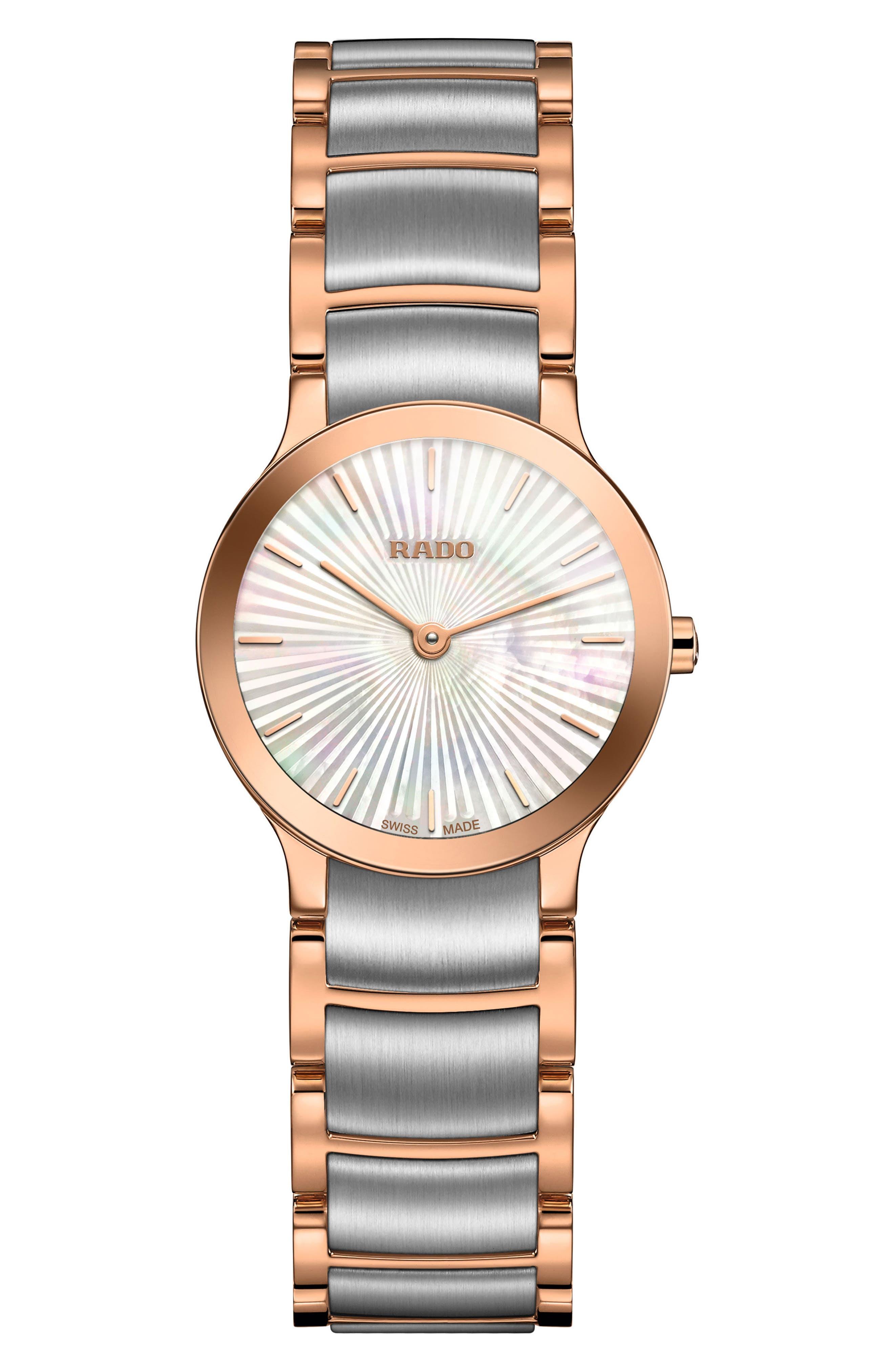 Centrix Sunburst Bracelet Watch, 23mm,                             Main thumbnail 1, color,                             ROSE GOLD/ MOP/ SILVER