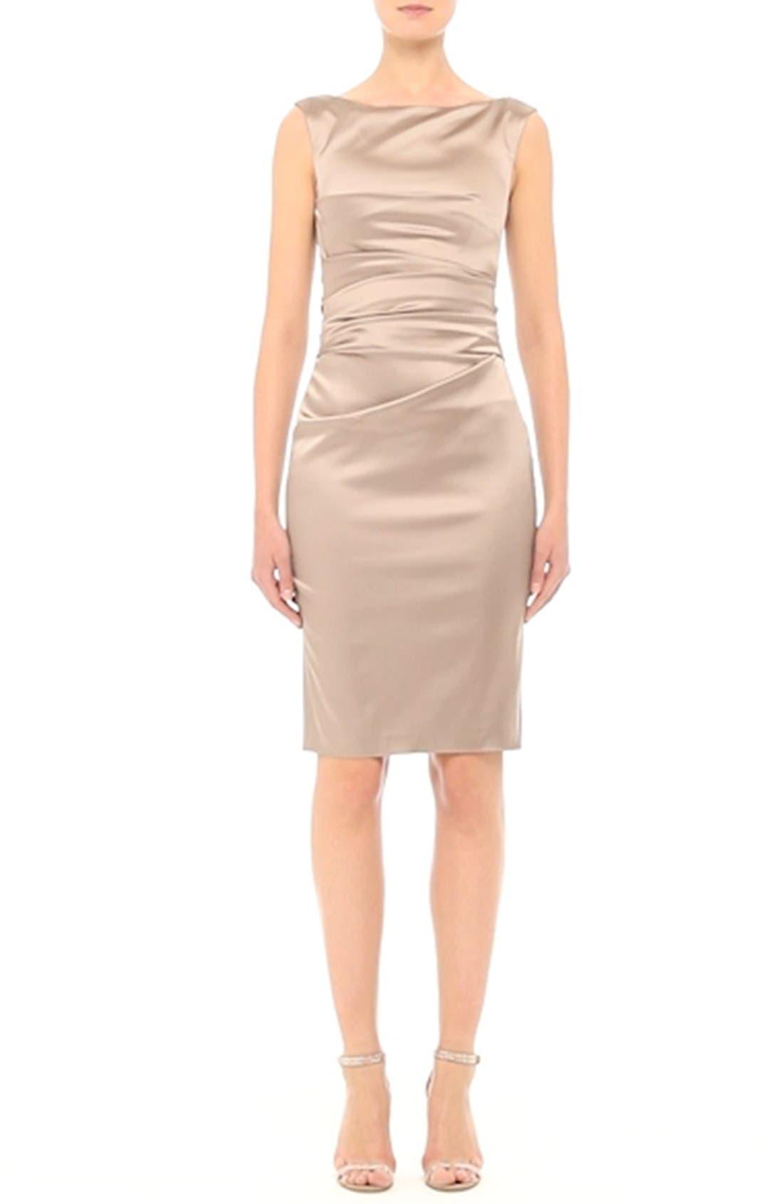 Stretch Satin Sheath Dress,                             Alternate thumbnail 6, color,                             STONE