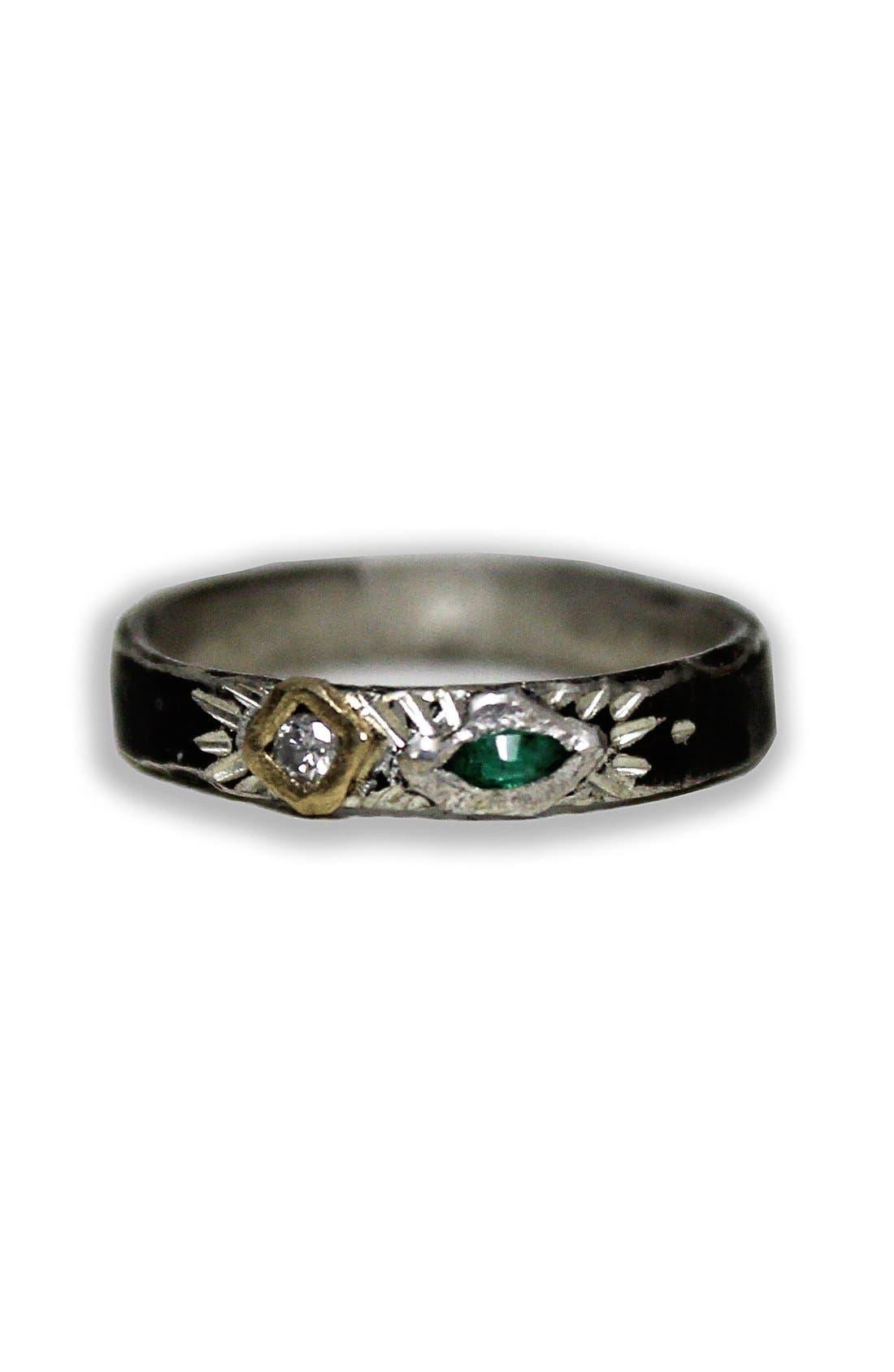 Diamond & Emerald Stacker Ring,                         Main,                         color,