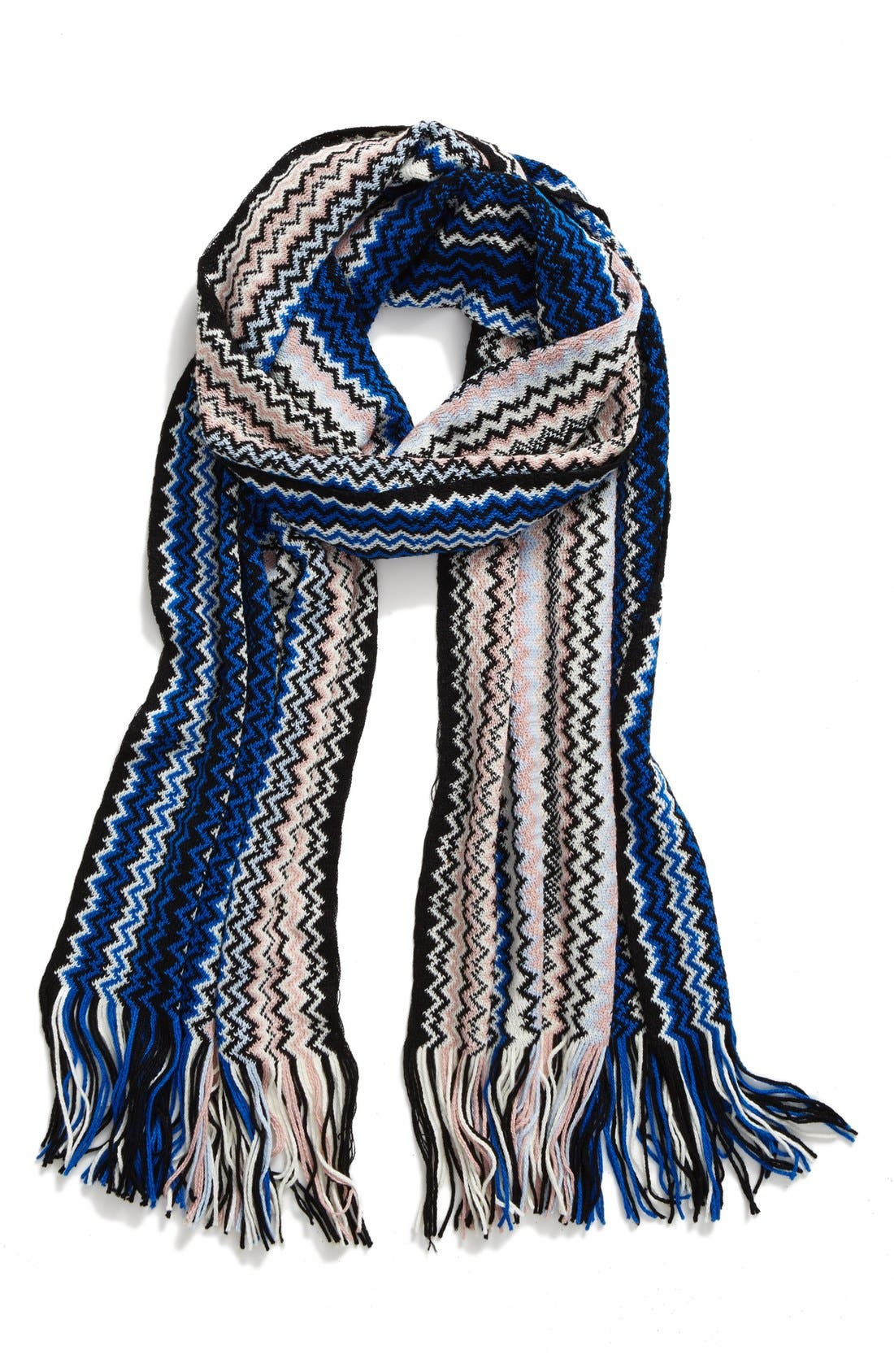 Knit Zigzag Fringe Scarf,                             Main thumbnail 1, color,                             400