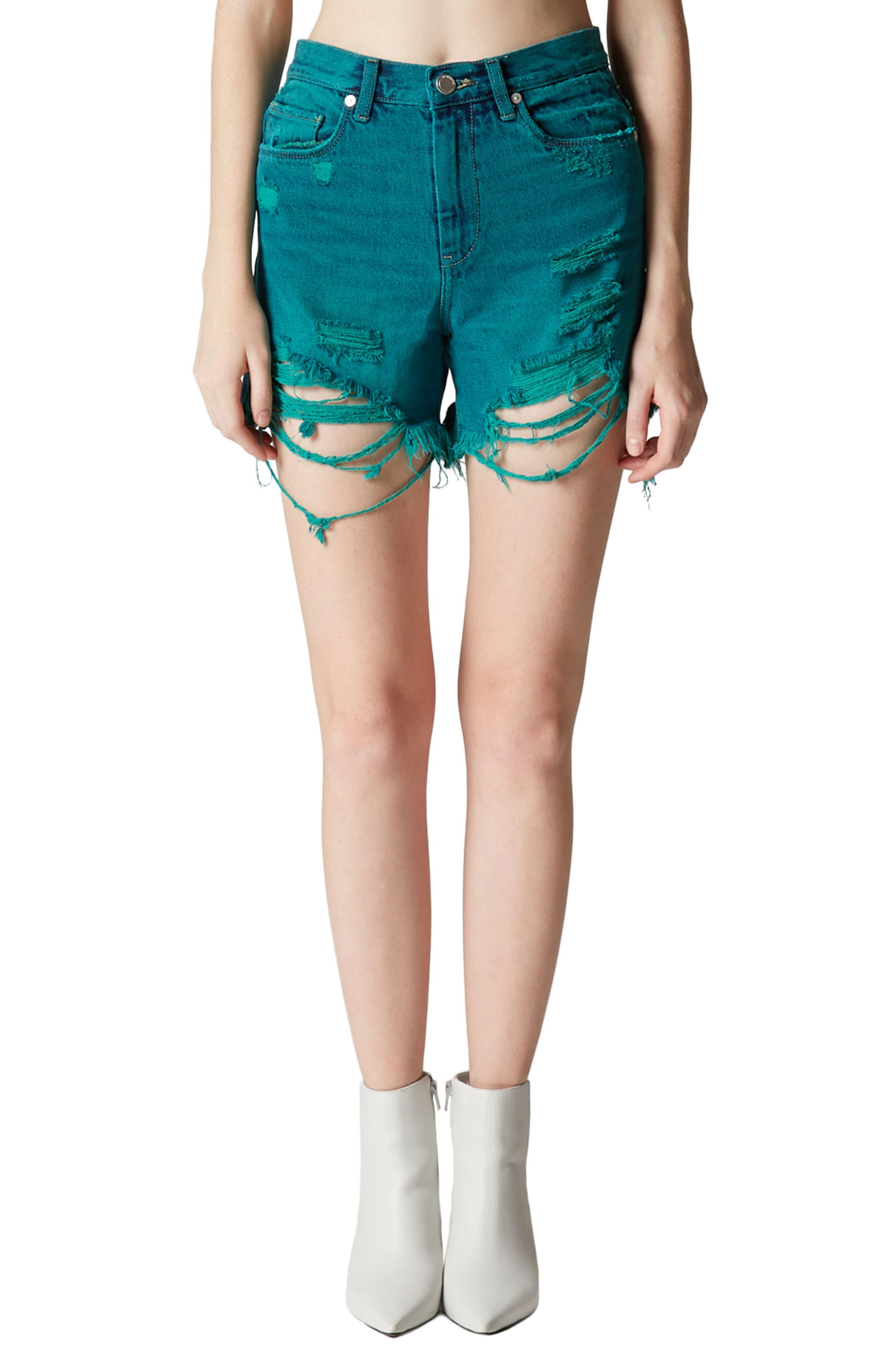 Shredded Cutoff Denim Shorts,                             Main thumbnail 1, color,                             401
