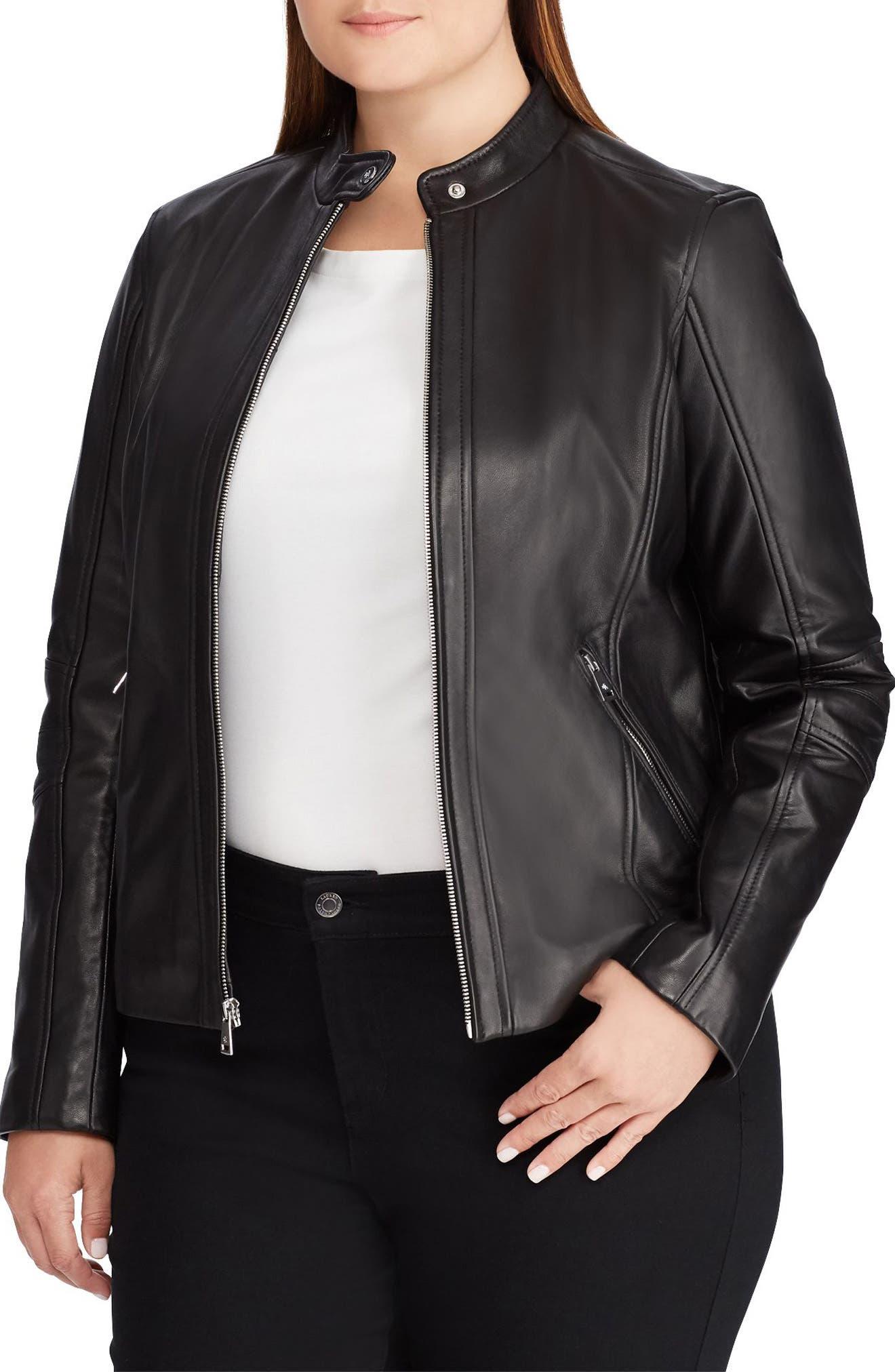 LAUREN RALPH LAUREN,                             Leather Moto Jacket,                             Main thumbnail 1, color,                             005