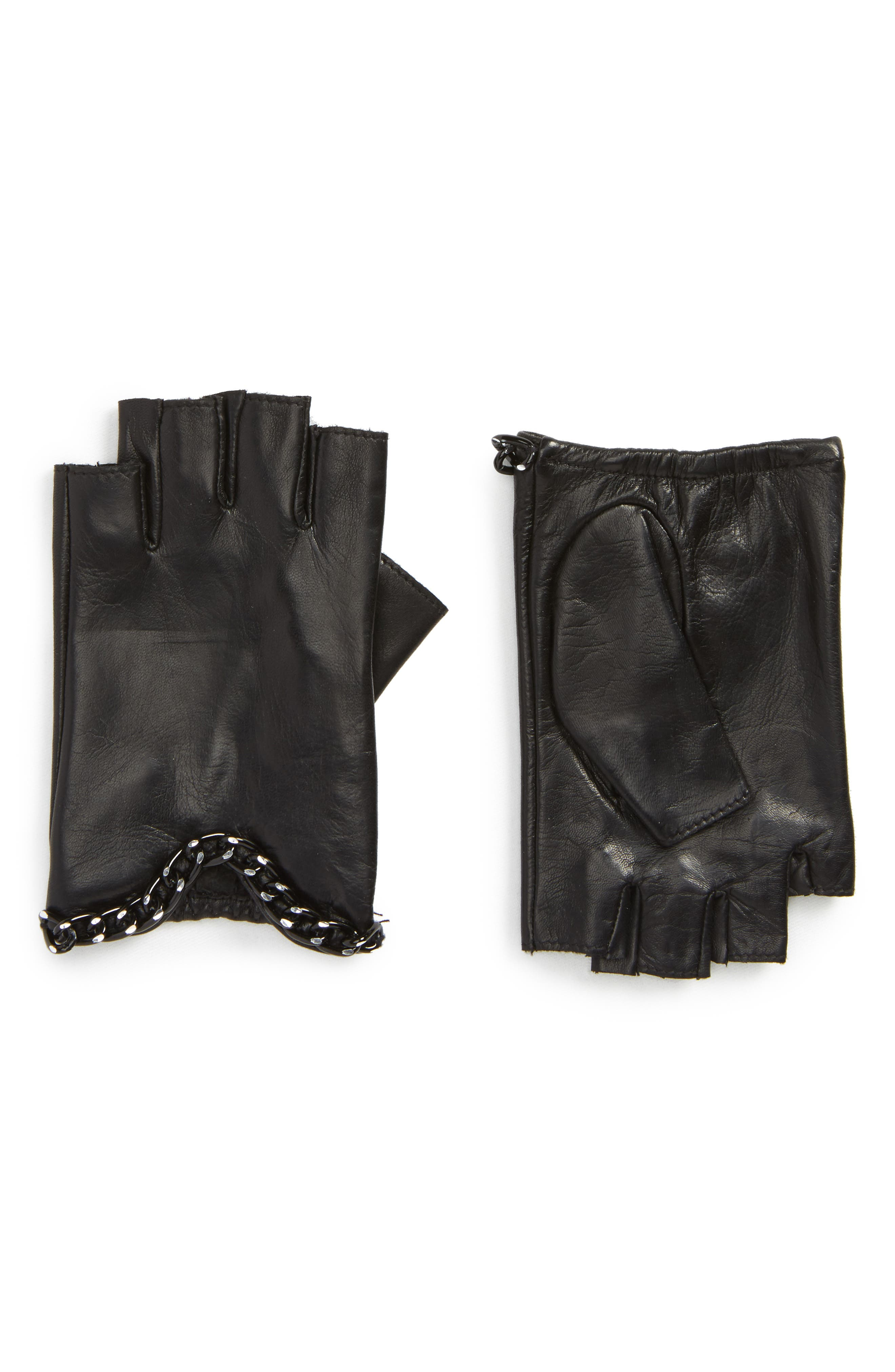 Chain Fingerless Leather Gloves,                             Main thumbnail 1, color,                             001