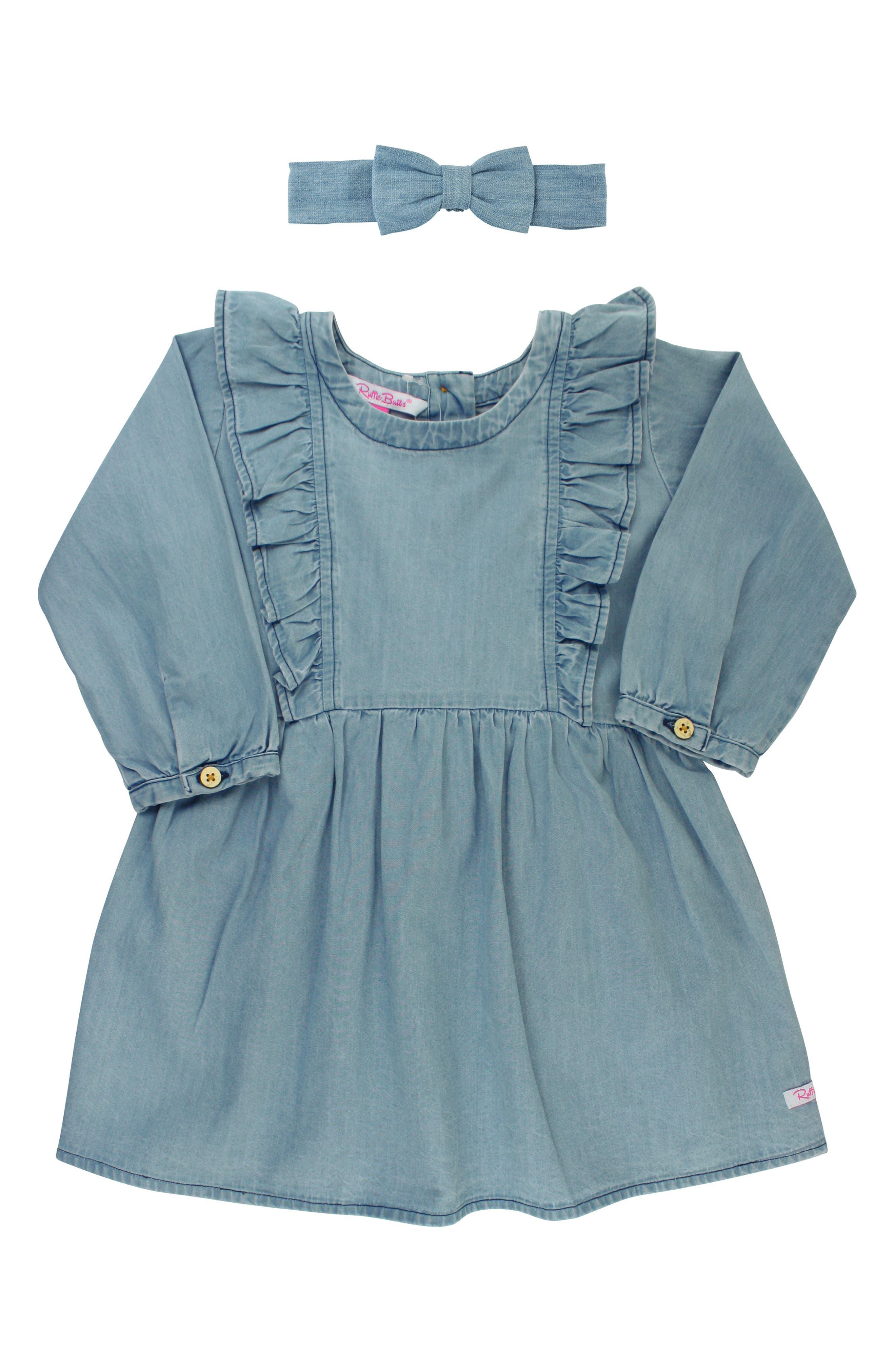 RUFFLEBUTTS Cotton Chambray Dress & Headband Set, Main, color, BLUE