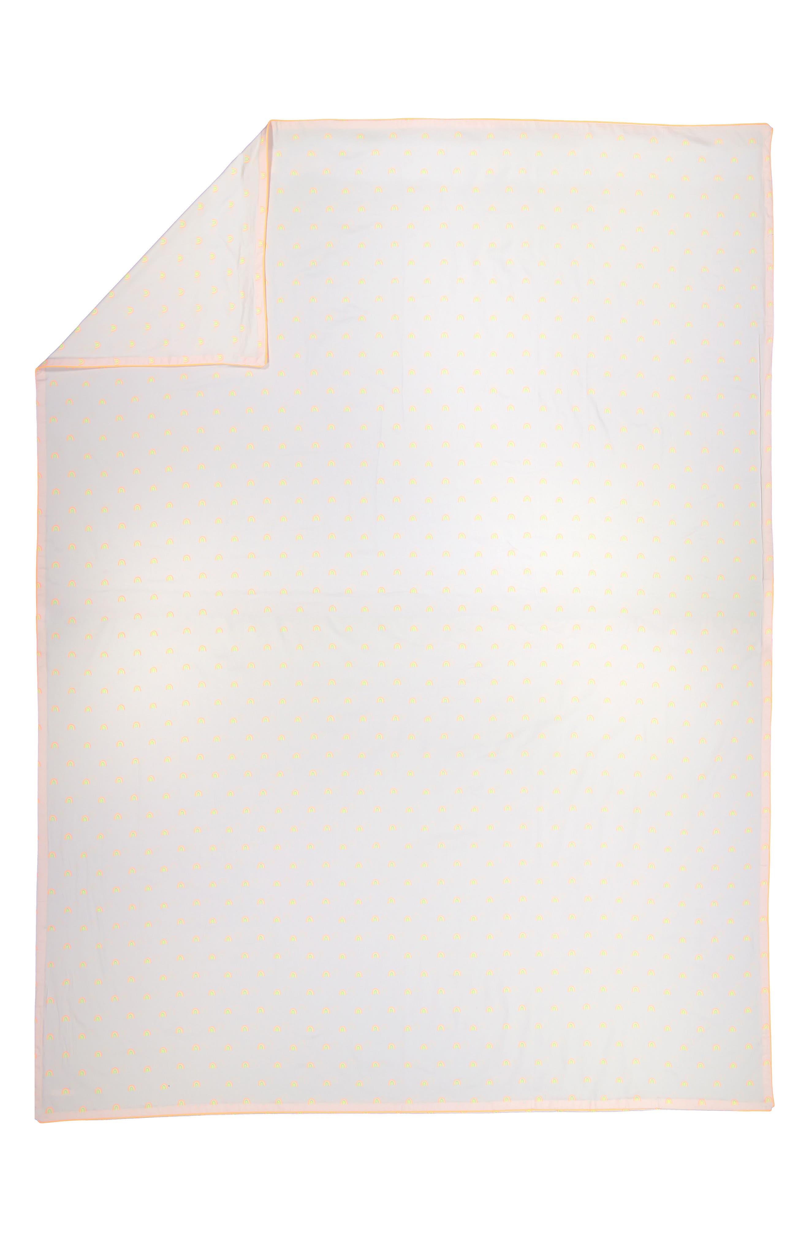 Rainbow Organic Cotton Twin Duvet Cover,                             Main thumbnail 1, color,                             WHITE