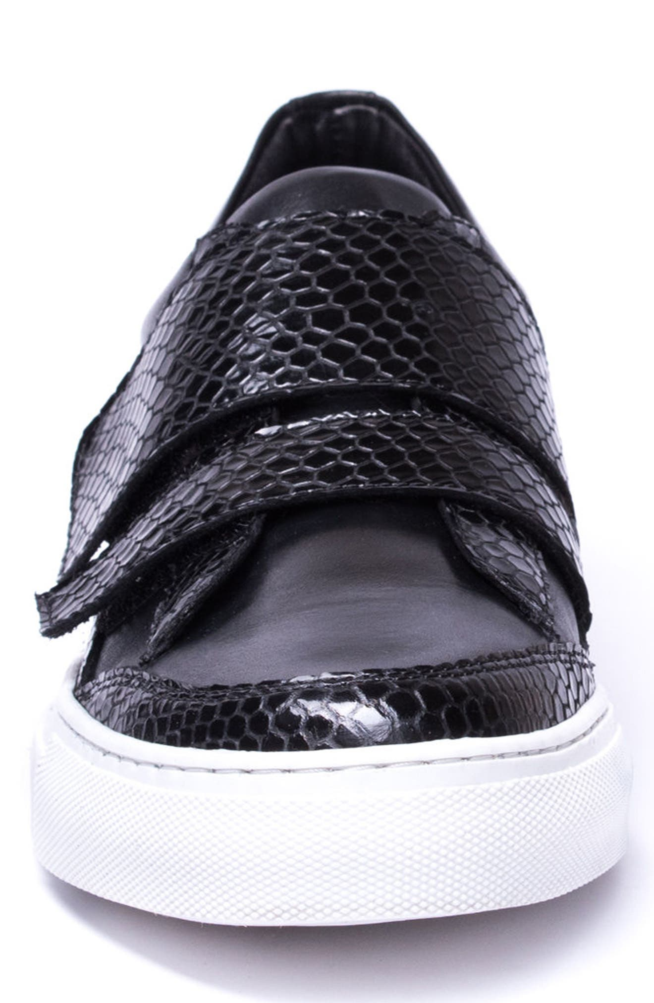 Luke Double Strap Sneaker,                             Alternate thumbnail 4, color,                             BLACK LEATHER