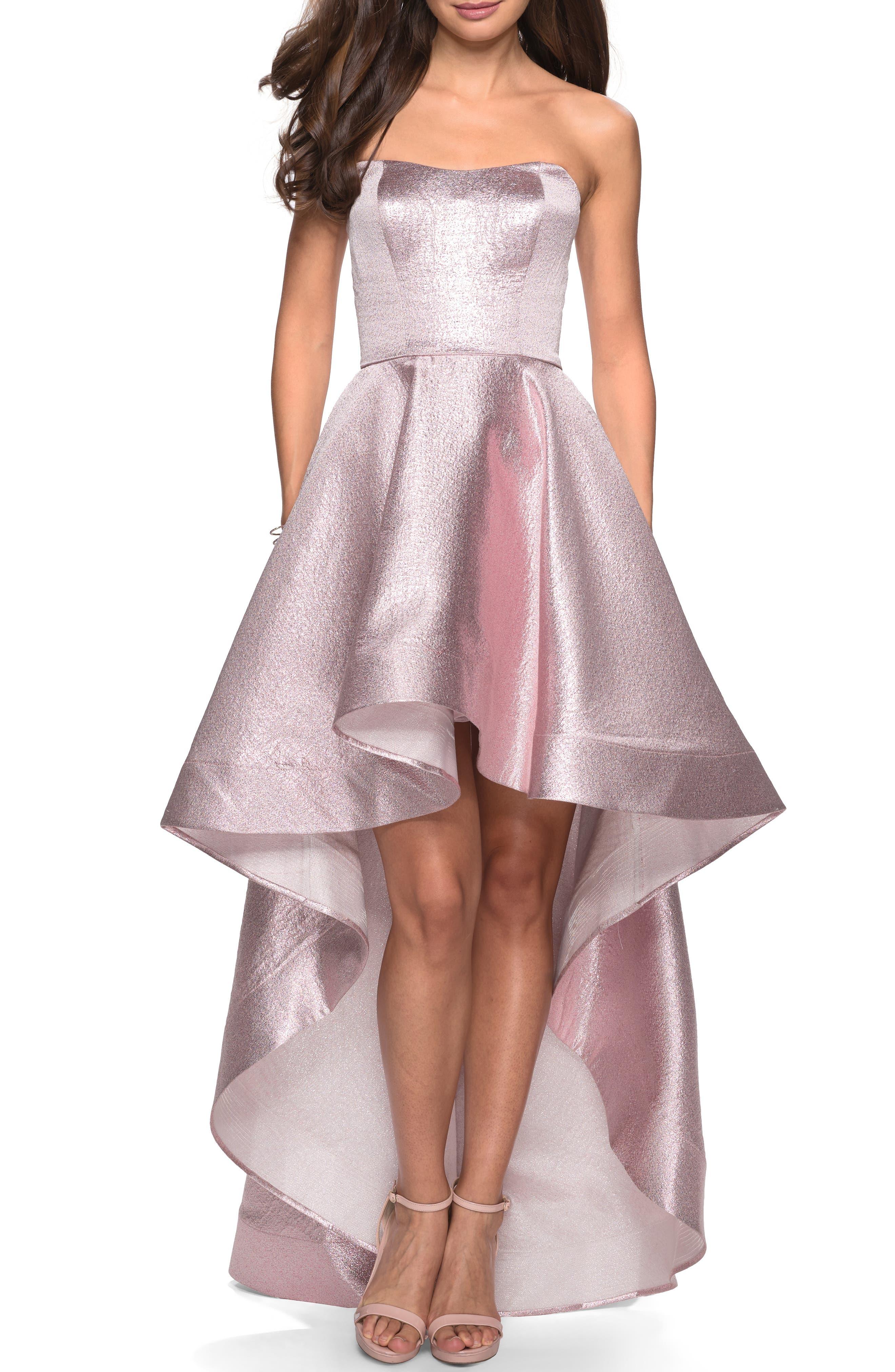 La Femme Strapless High/low Evening Dress, Pink