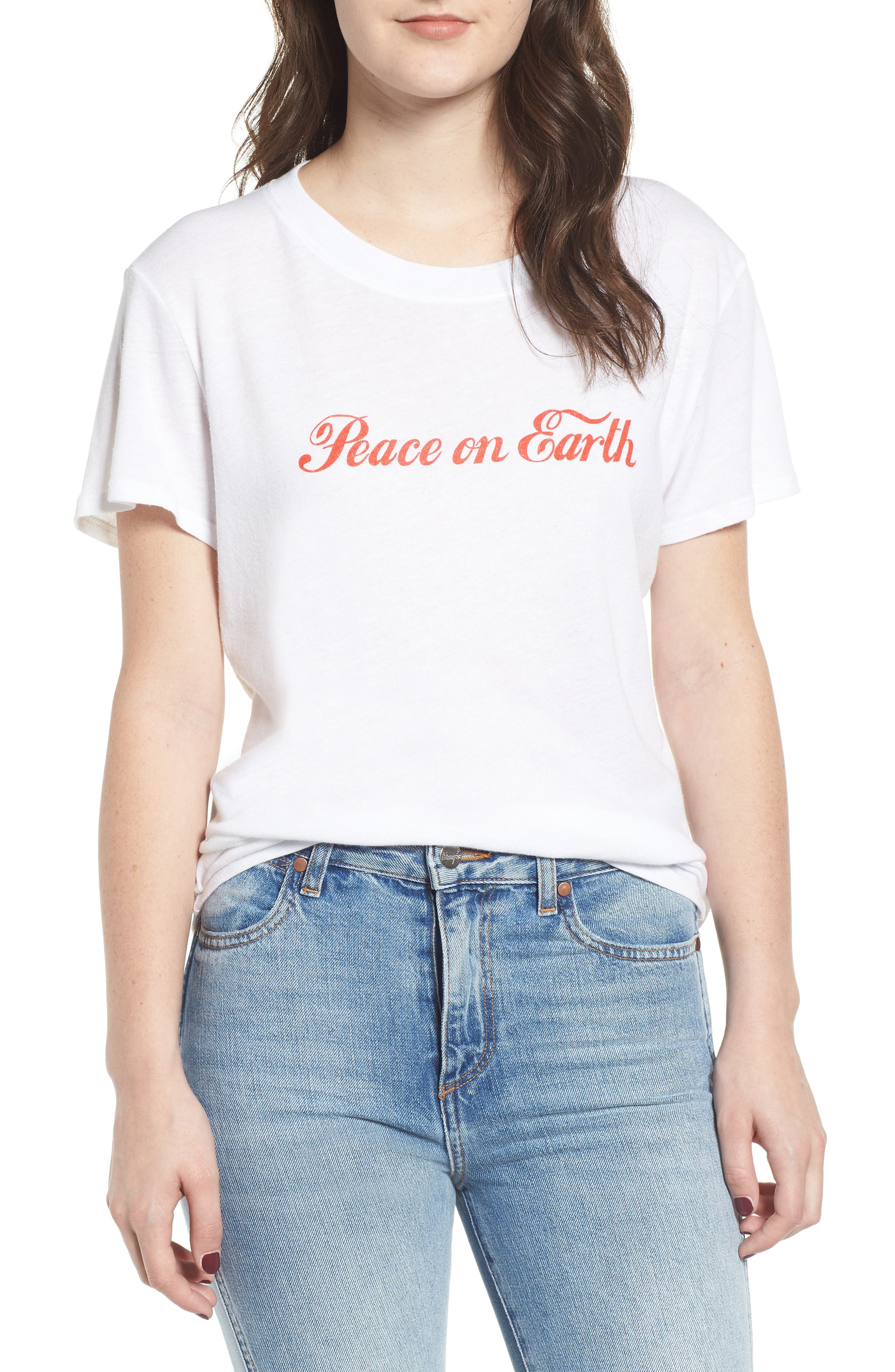 SUB_URBAN RIOT Peace On Earth Slouched Tee in White