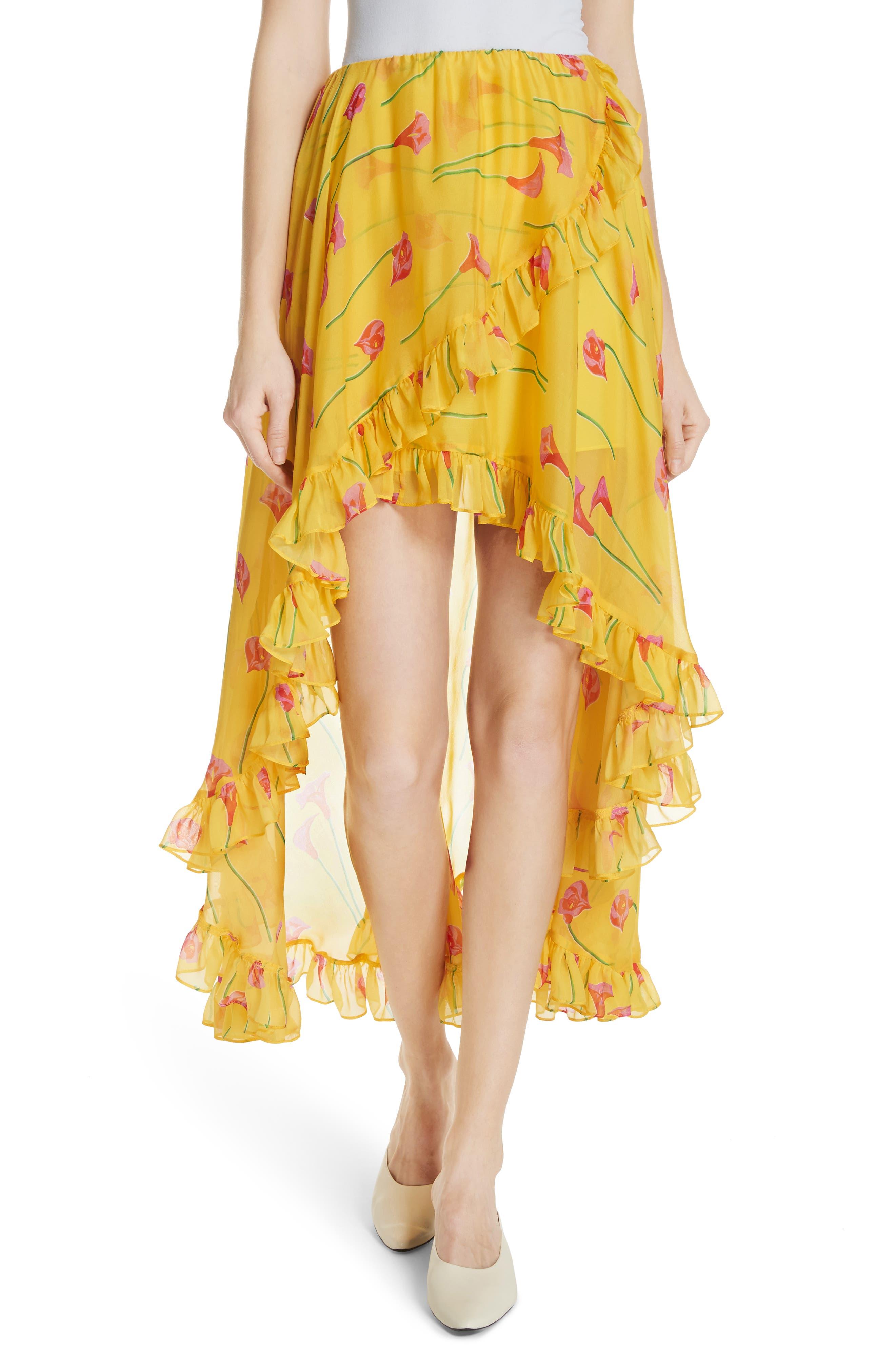 CAROLINE CONSTAS Adelle Ruffle Trim High/Low Silk Skirt, Main, color, 720