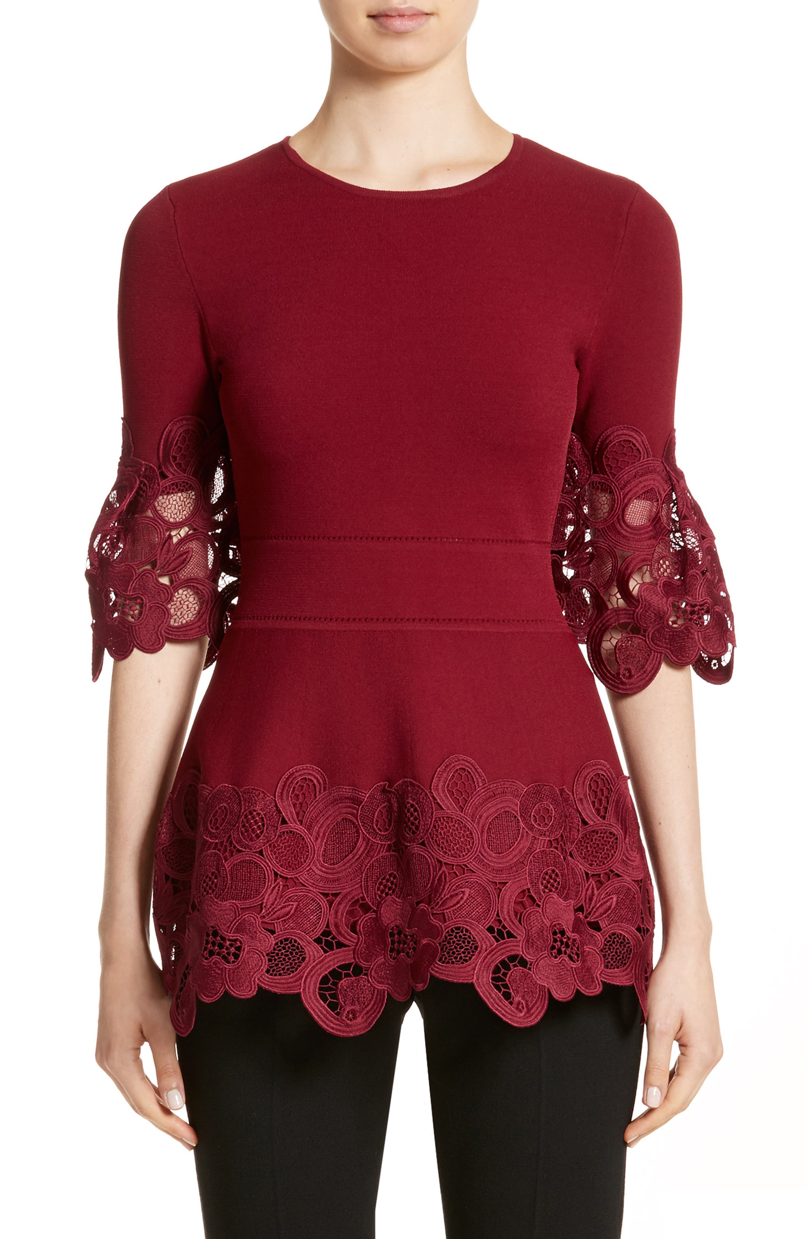 Lace Hem Knit Top,                             Main thumbnail 1, color,                             604