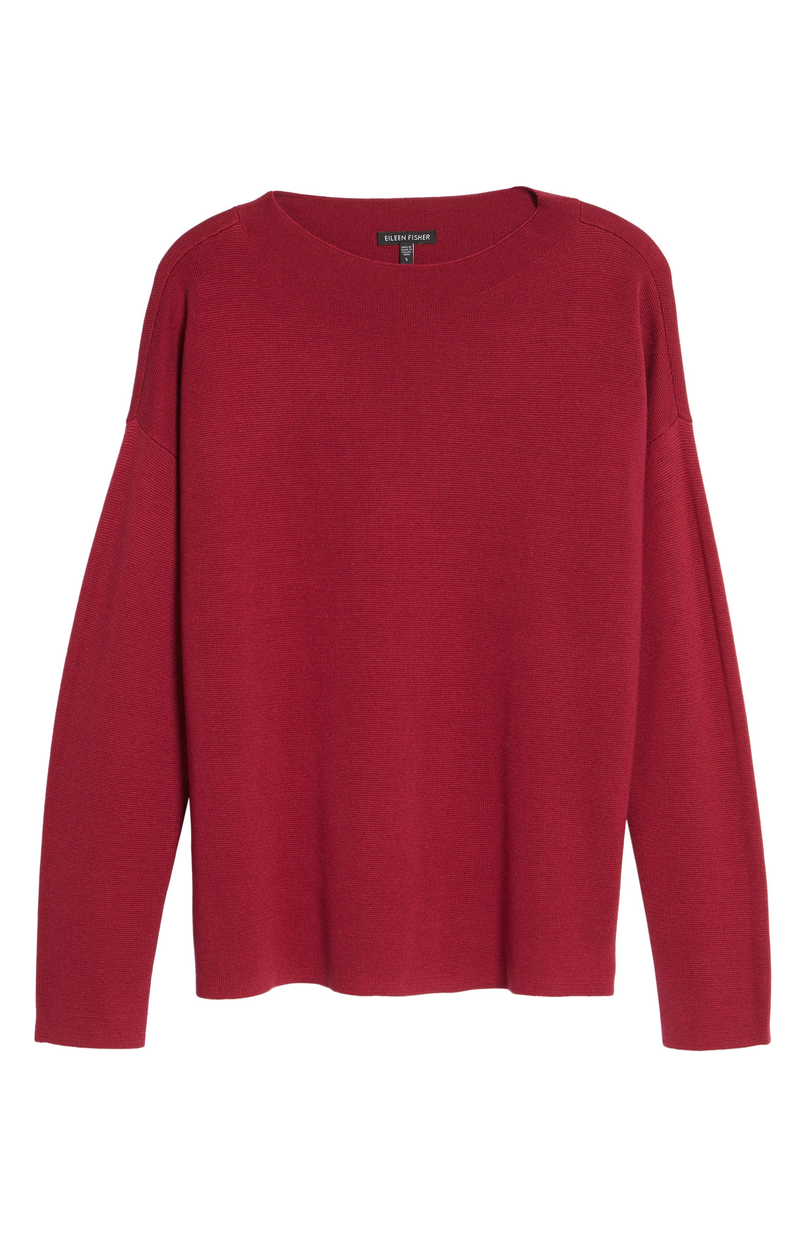 Mock Neck Box Silk & Organic Cotton Sweater,                             Alternate thumbnail 6, color,                             635