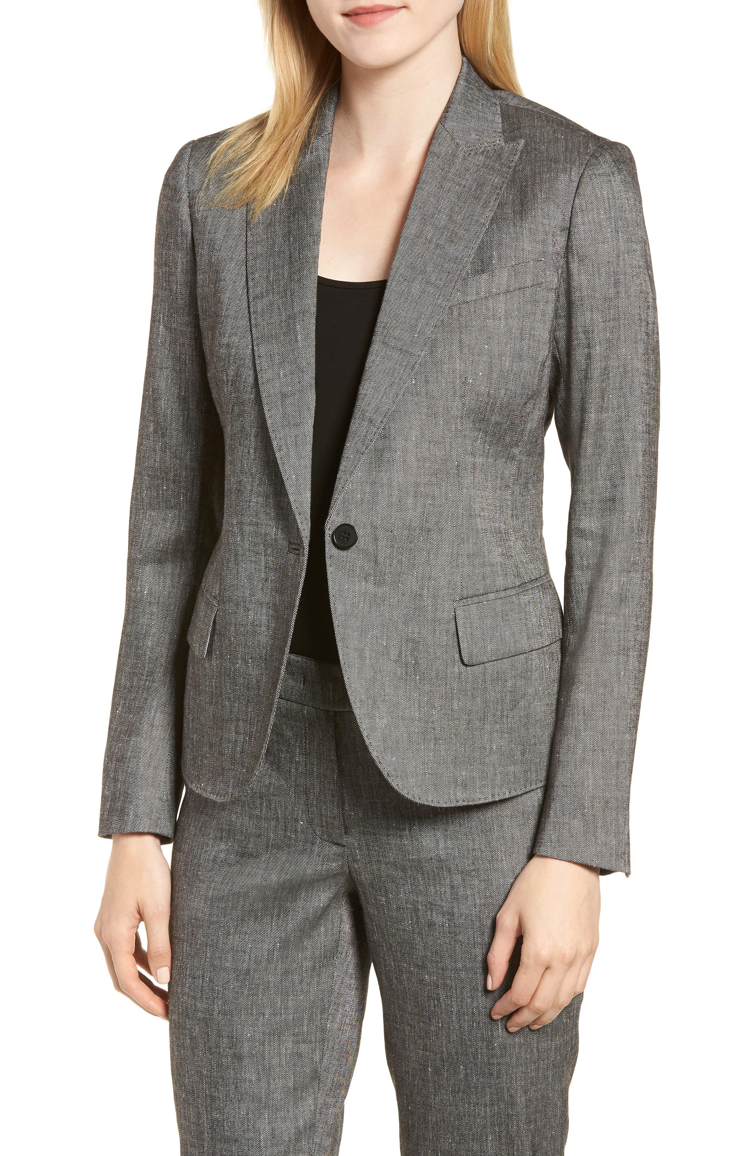 Linen Blend One-Button Suit Jacket,                             Main thumbnail 1, color,                             001