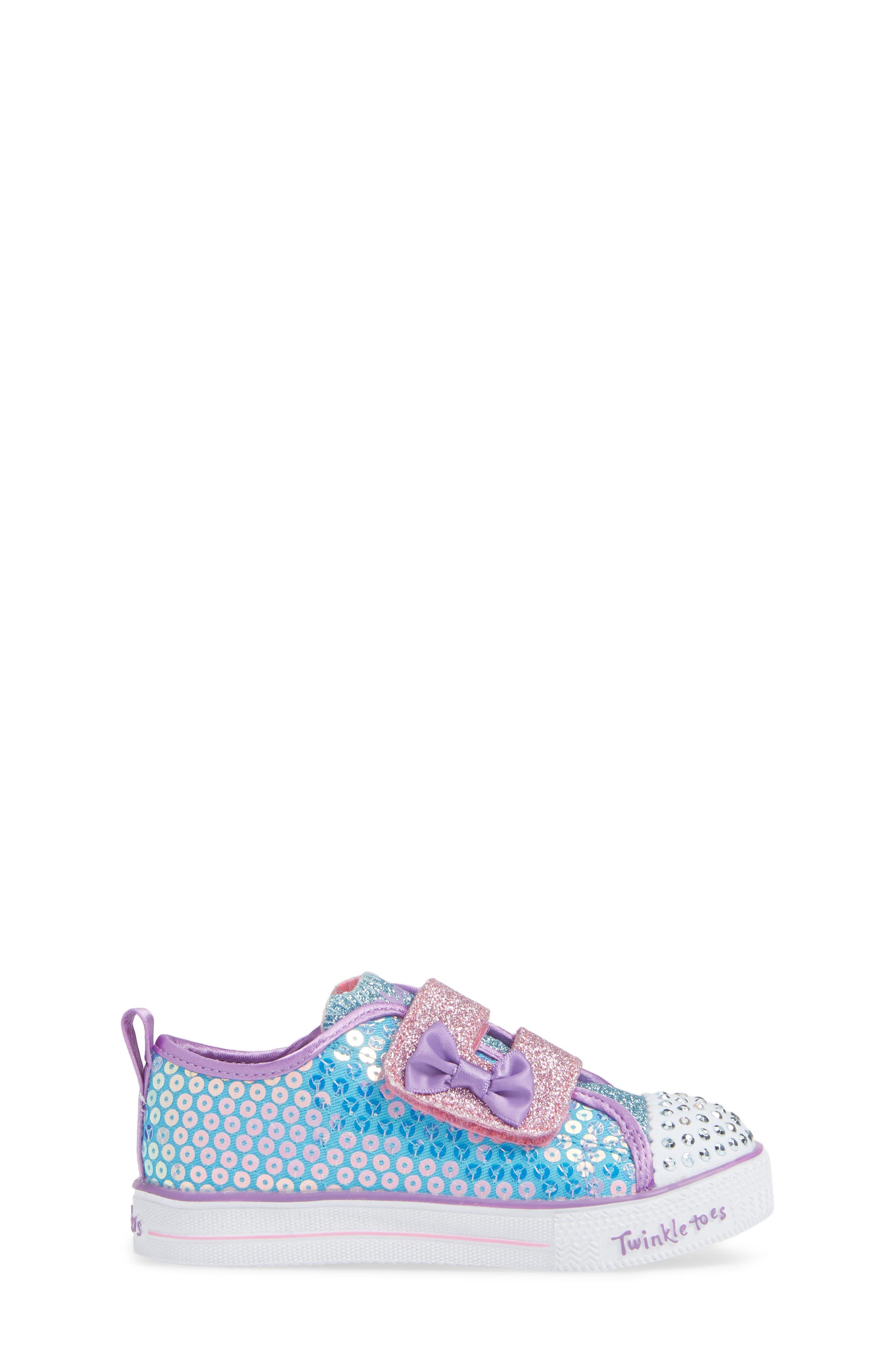 Shuffle Lite Glitter Sneaker,                             Alternate thumbnail 3, color,                             TURQUOISE/MULTI
