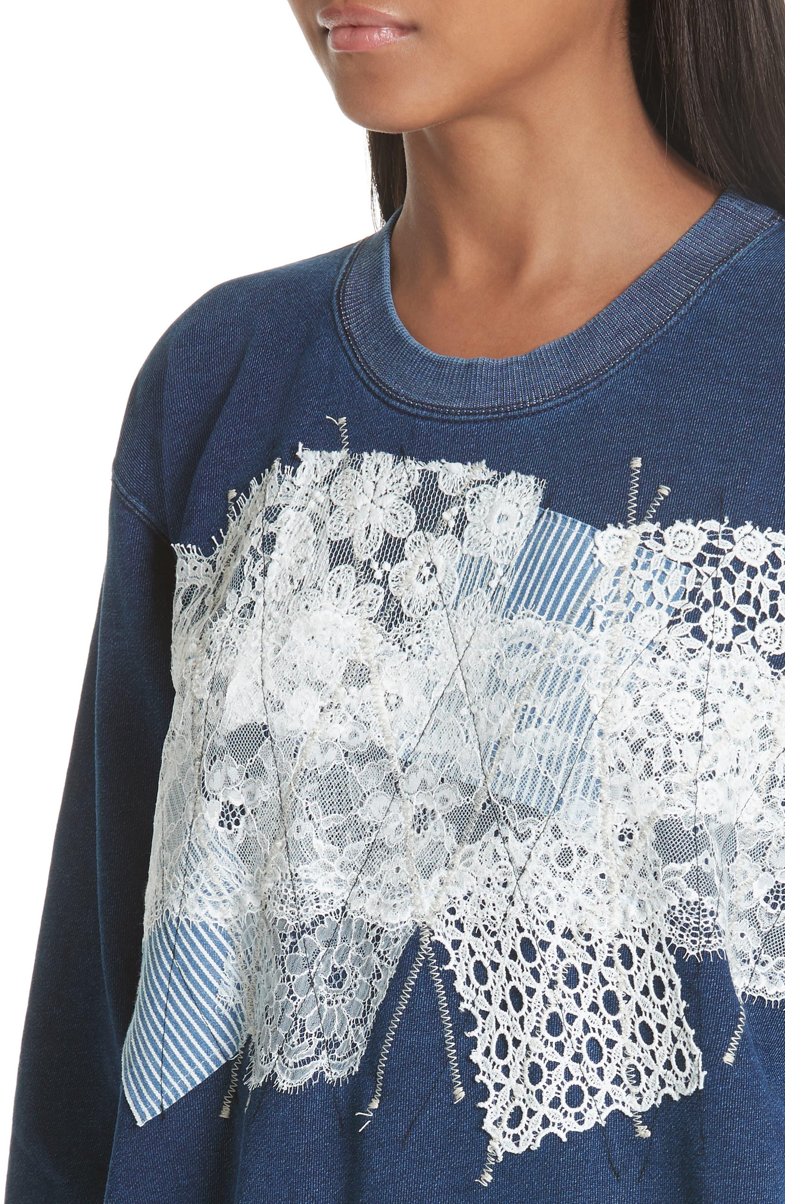 Lace Patch Sweatshirt,                             Alternate thumbnail 4, color,                             400