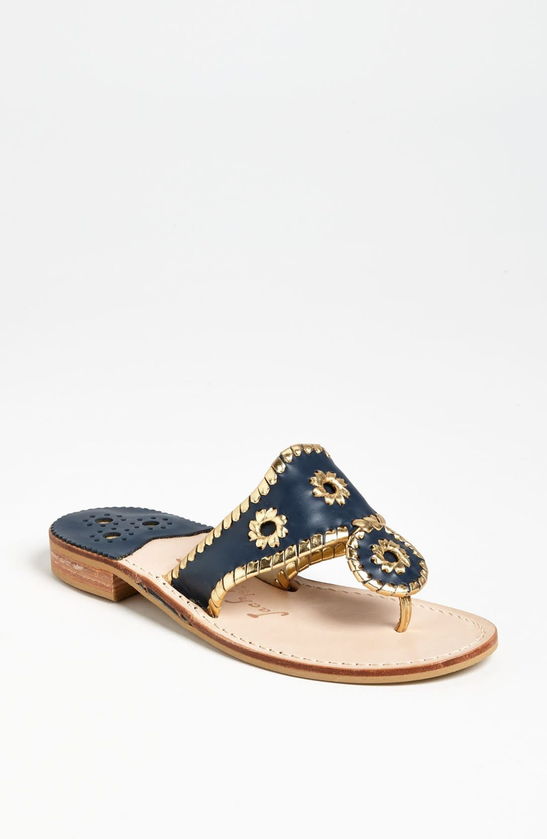 JACK ROGERS Nantucket Whipstitch Thong Sandal in Navy/ Gold
