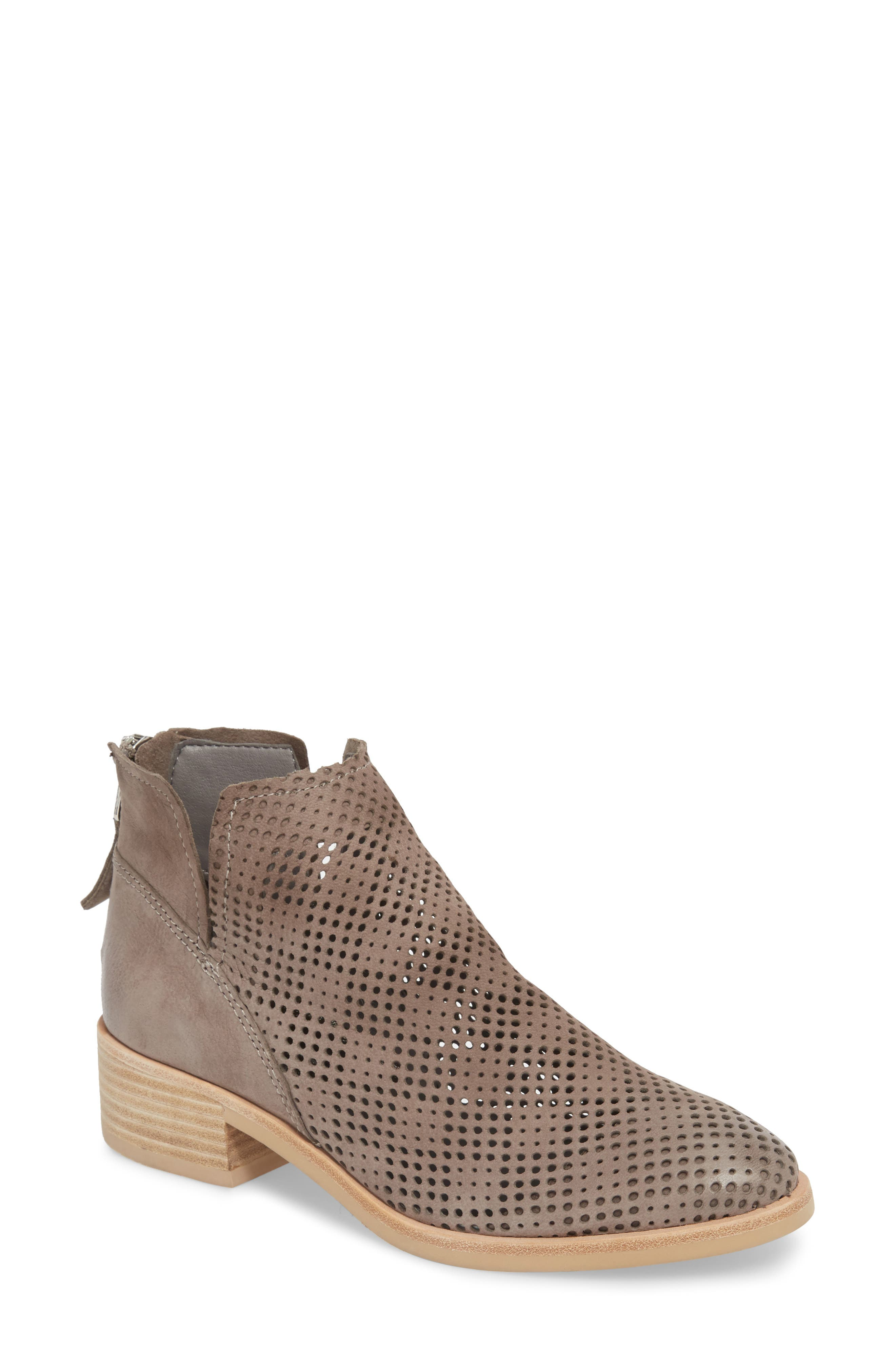 Tommi Perforated Bootie,                             Main thumbnail 1, color,                             SMOKE NUBUCK