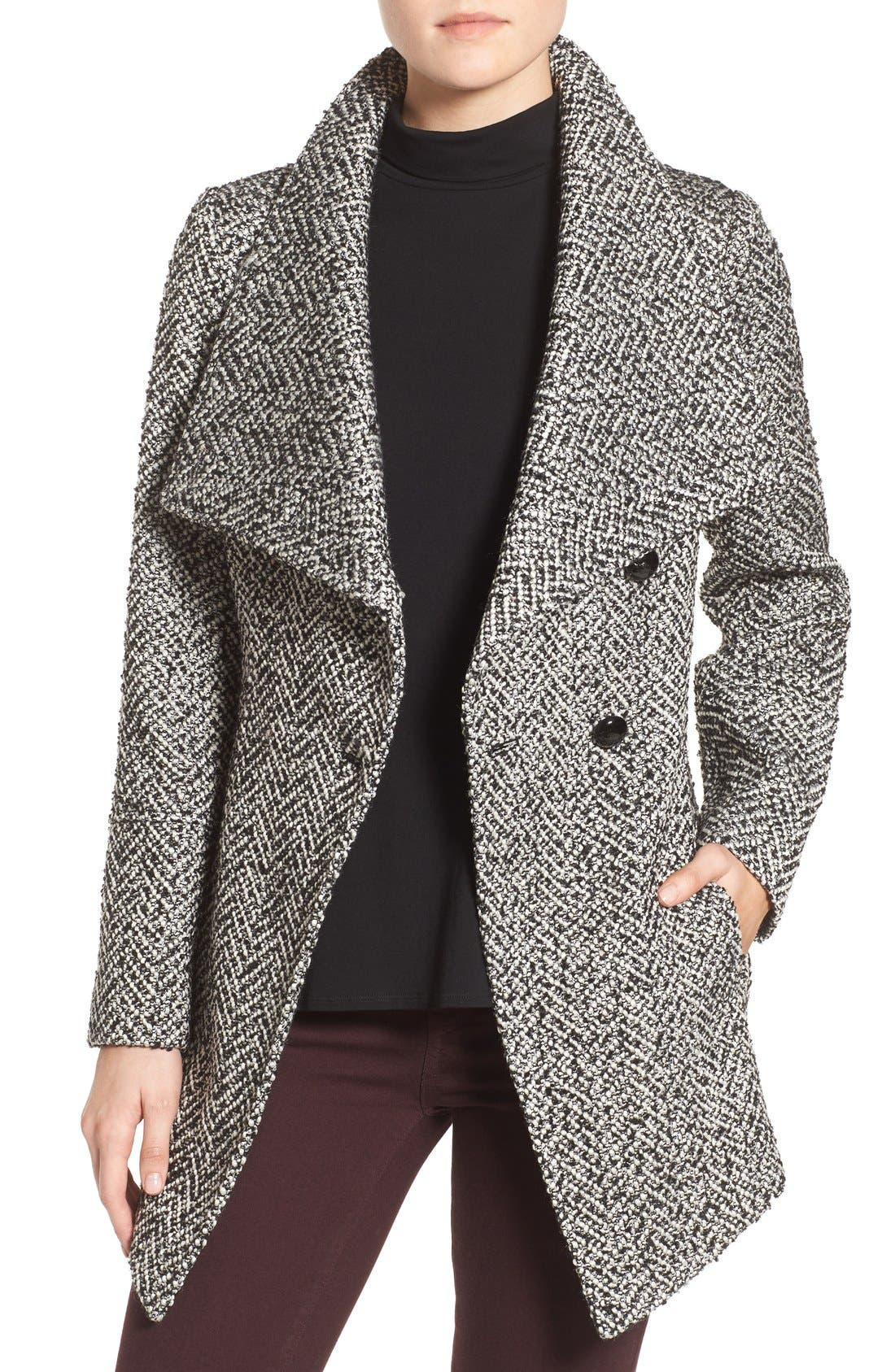 JESSICA SIMPSON,                             Belted Tweed Coat,                             Alternate thumbnail 4, color,                             003