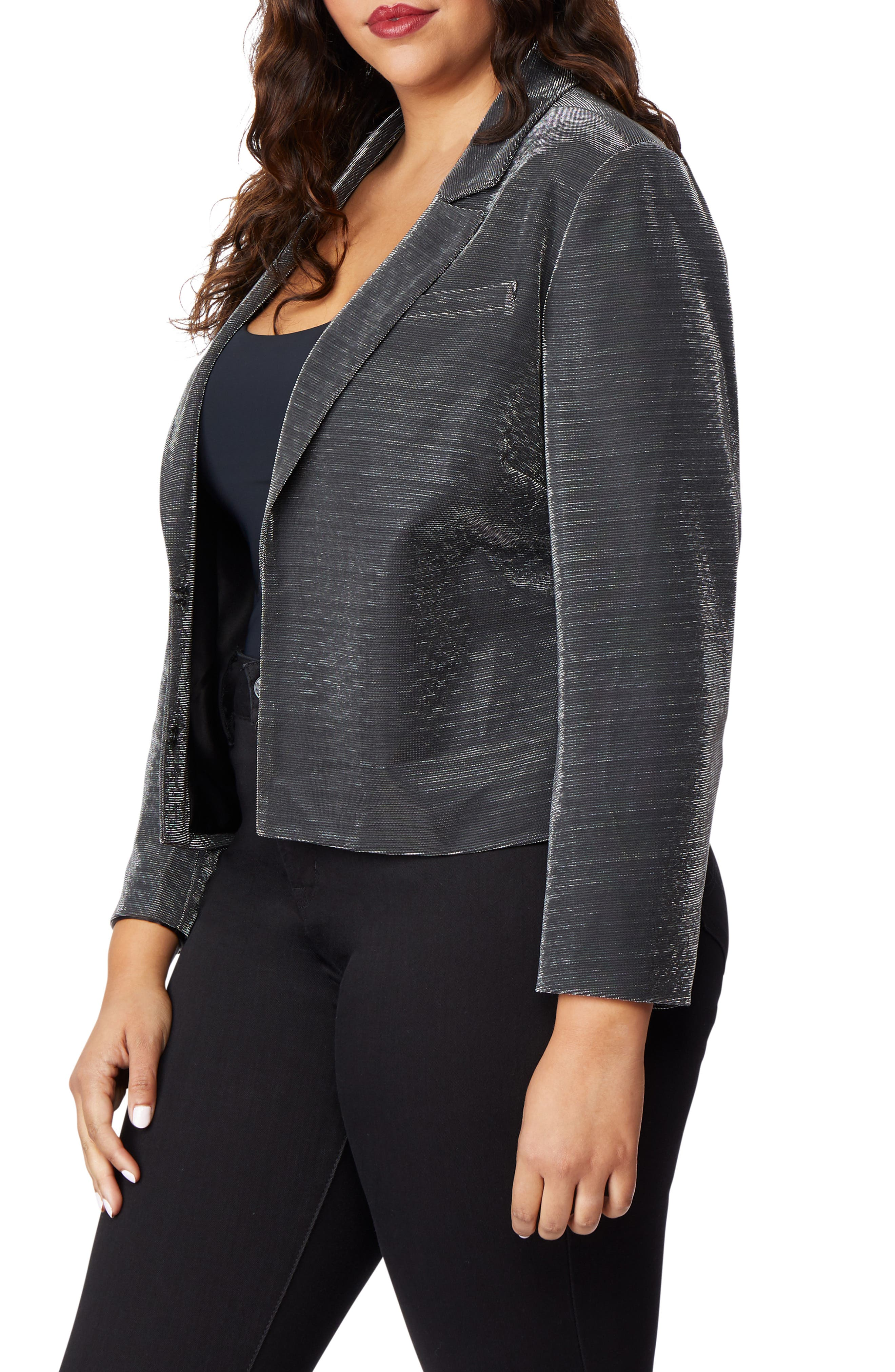 Crop Tux Jacket,                             Alternate thumbnail 3, color,                             GUNMETAL