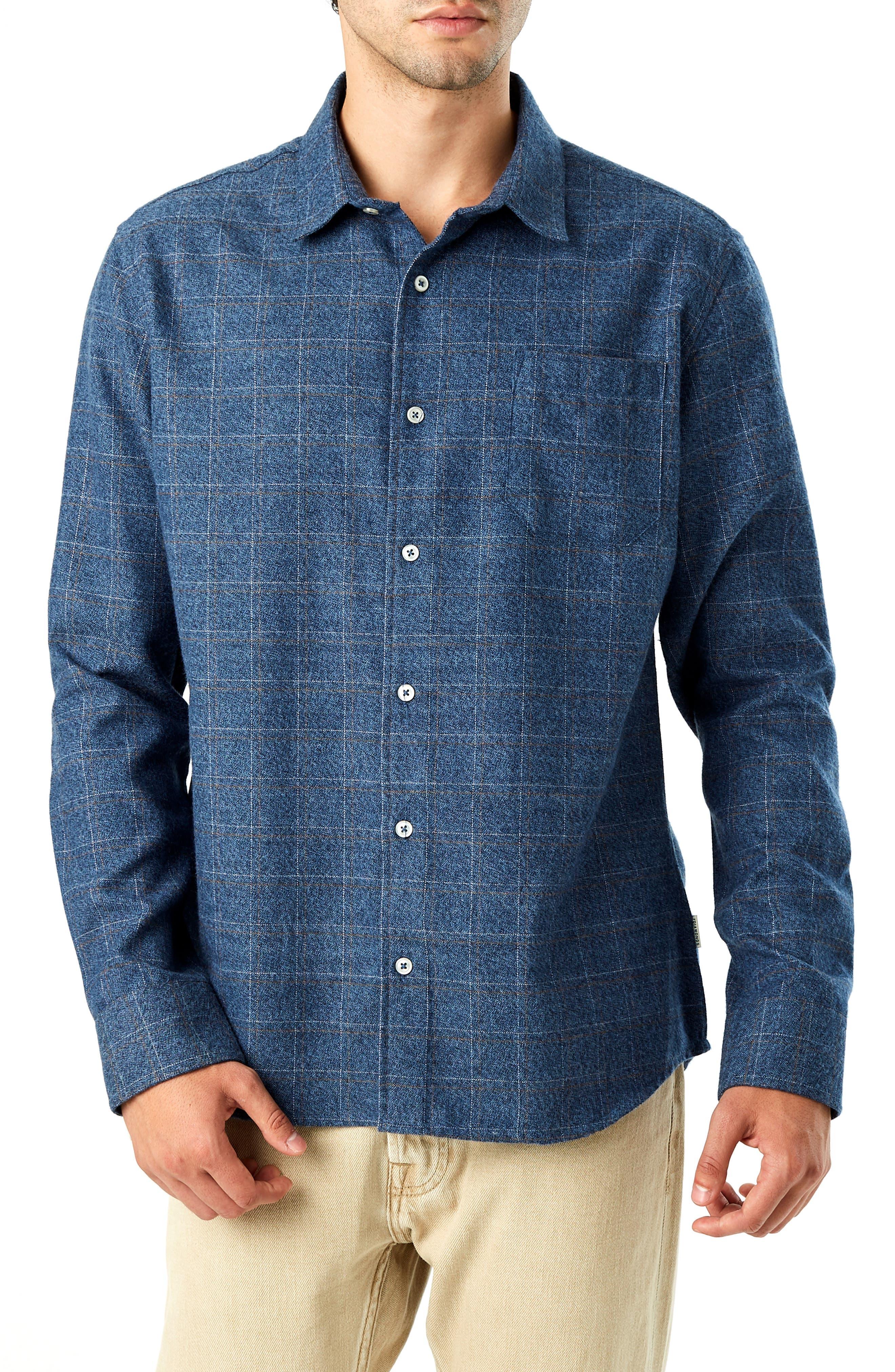 Trim Fit Check Flannel Shirt, Main, color, 410