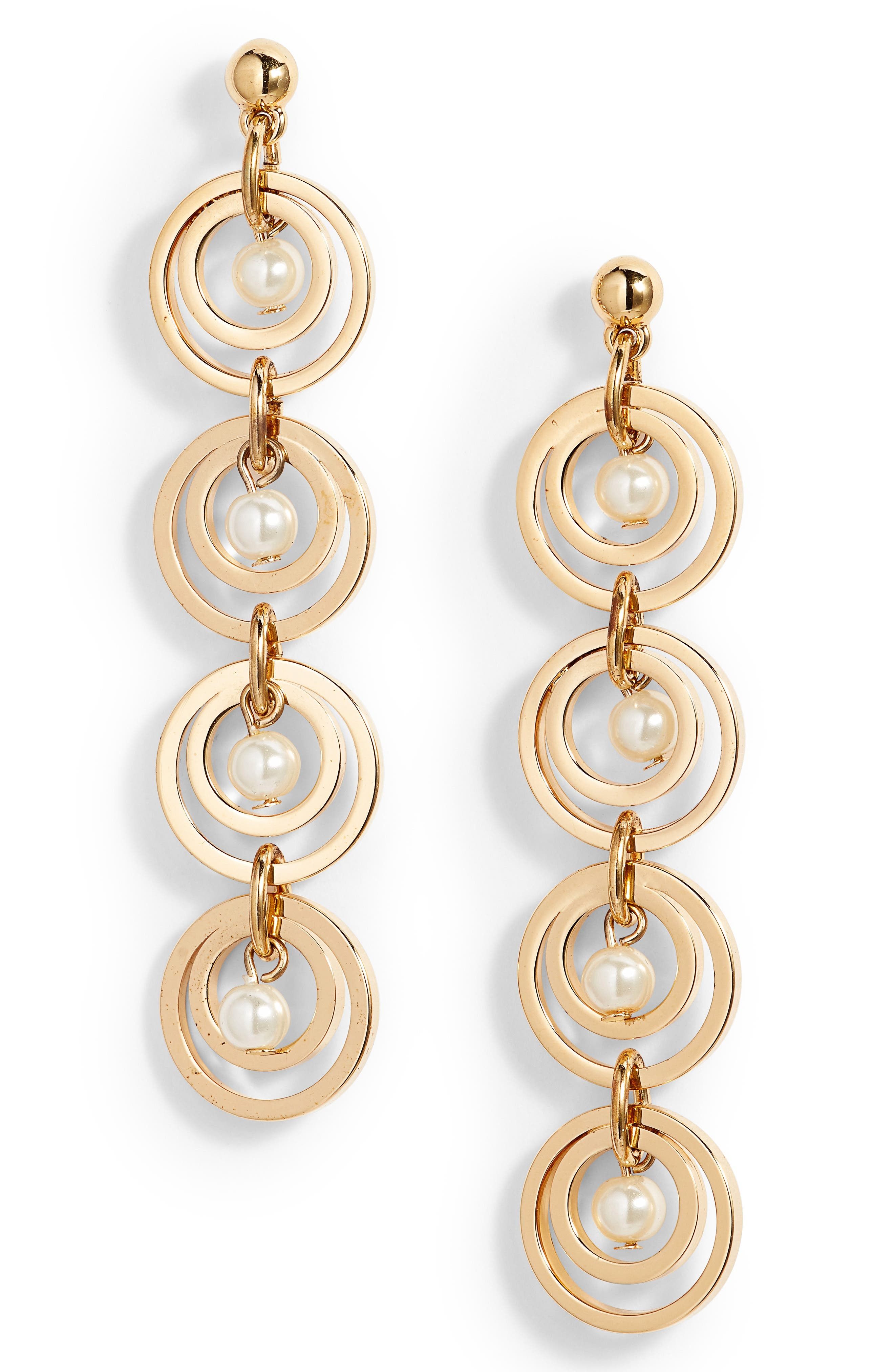 Tiered Hoop Earrings with Imitation Pearl,                         Main,                         color,