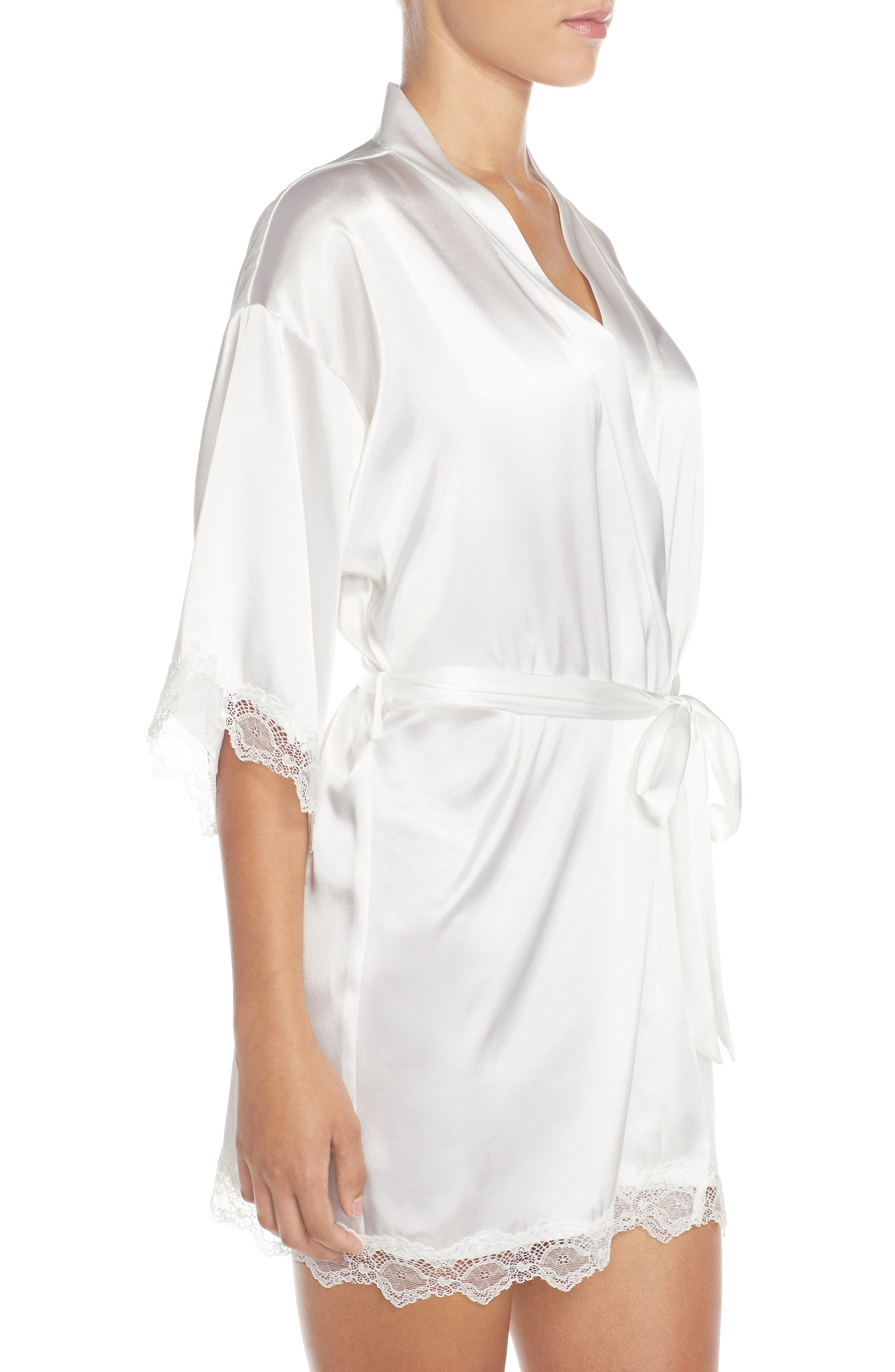 IN BLOOM BY JONQUIL,                             The Bride Short Satin Wrap,                             Alternate thumbnail 3, color,                             WHITE