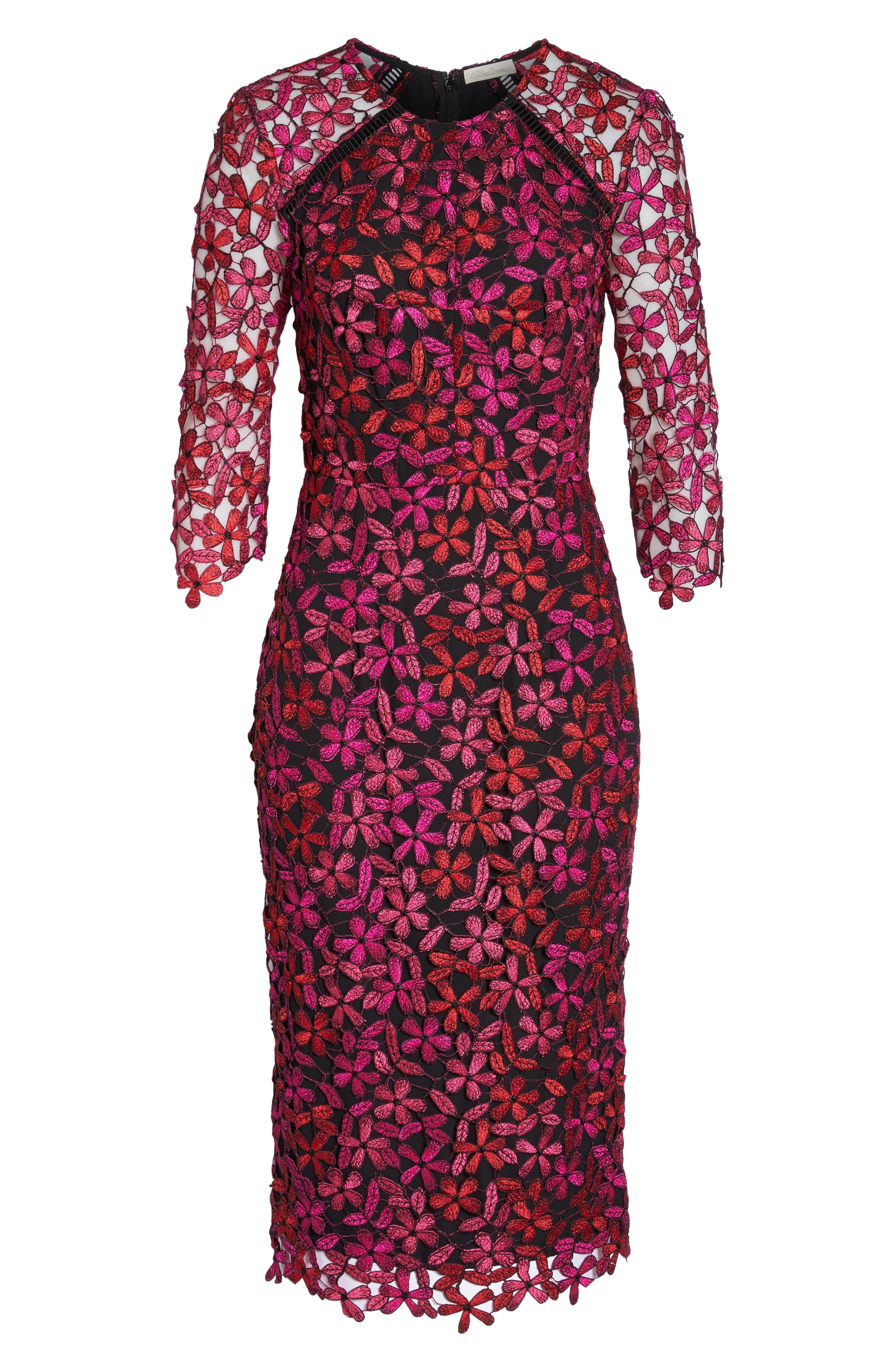Floral Lace Sheath Dress,                             Alternate thumbnail 6, color,                             651