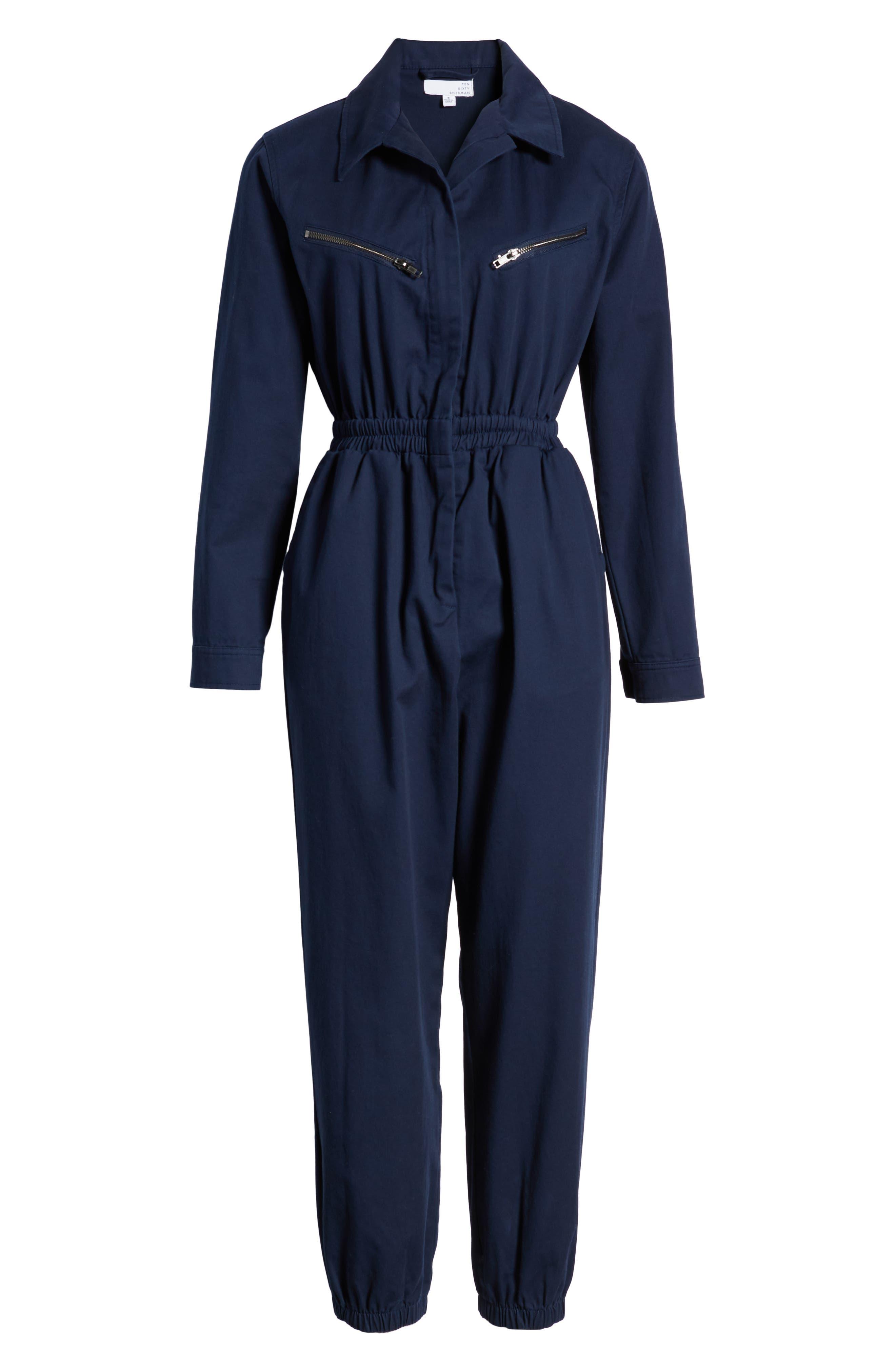 TEN SIXTY SHERMAN,                             Twill Workwear Jumpsuit,                             Alternate thumbnail 7, color,                             OXFORD BLUE