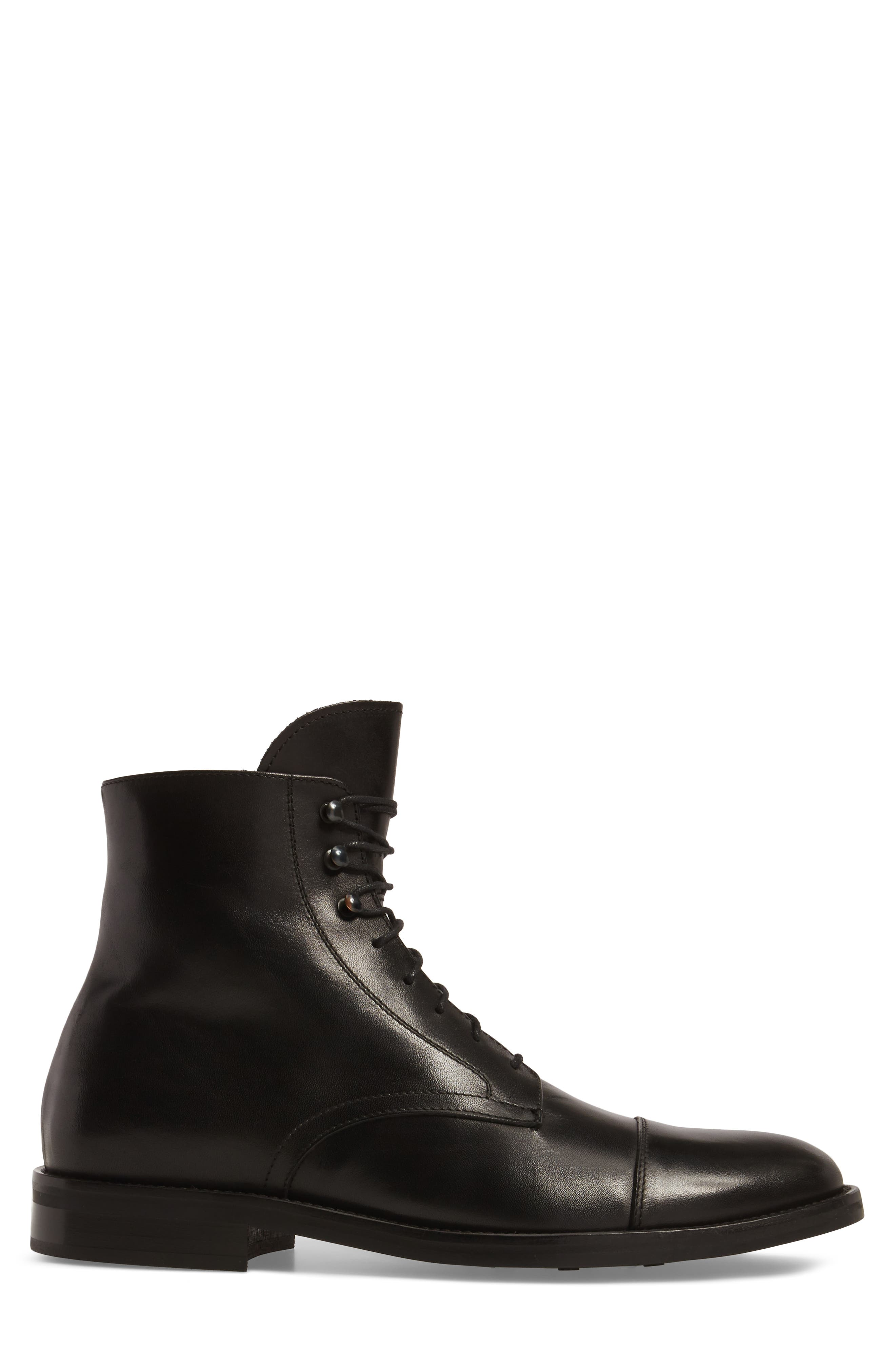 Henri Cap Toe Boot,                             Alternate thumbnail 3, color,                             BLACK